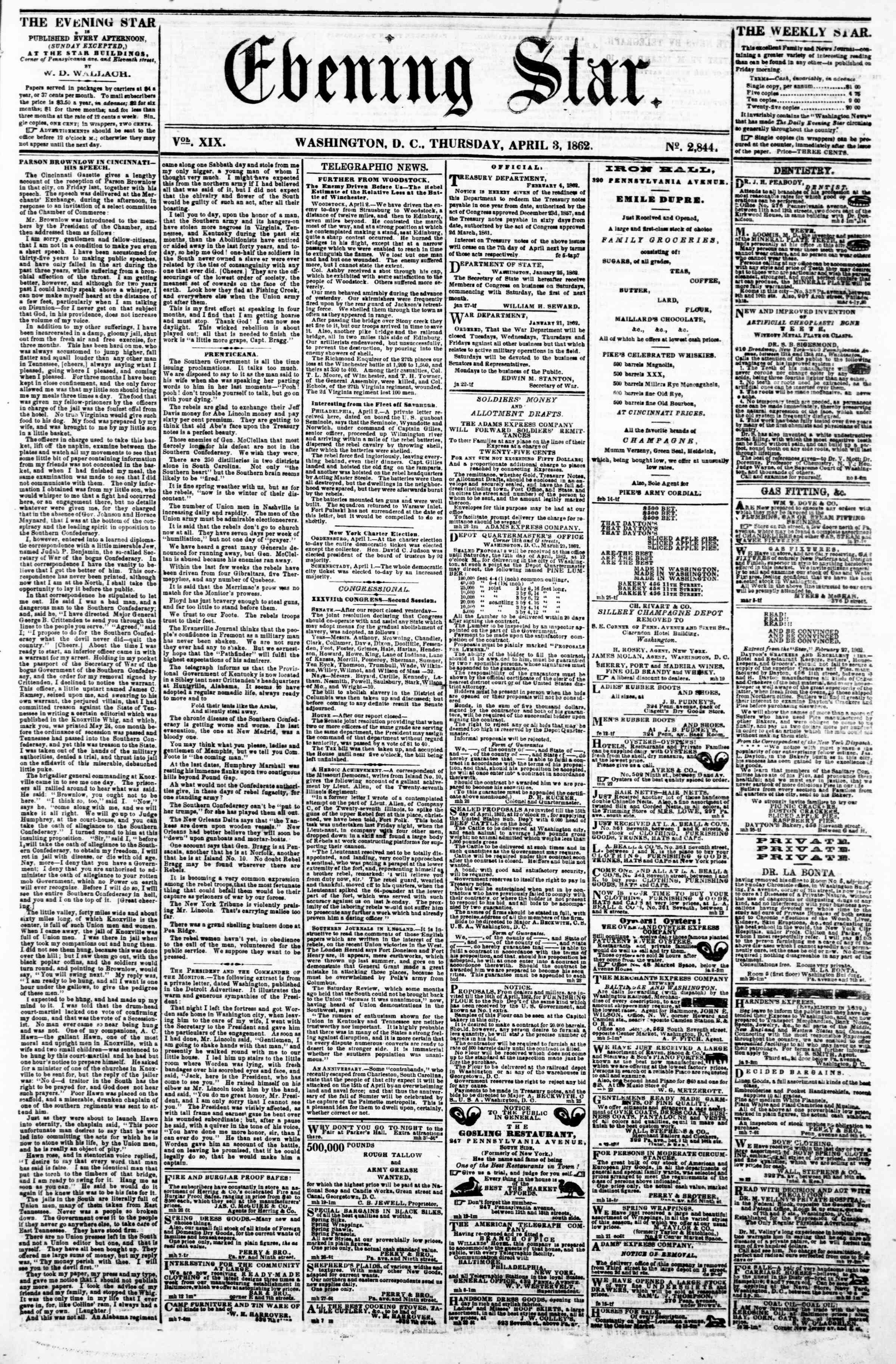 Newspaper of Evening Star dated April 3, 1862 Page 1