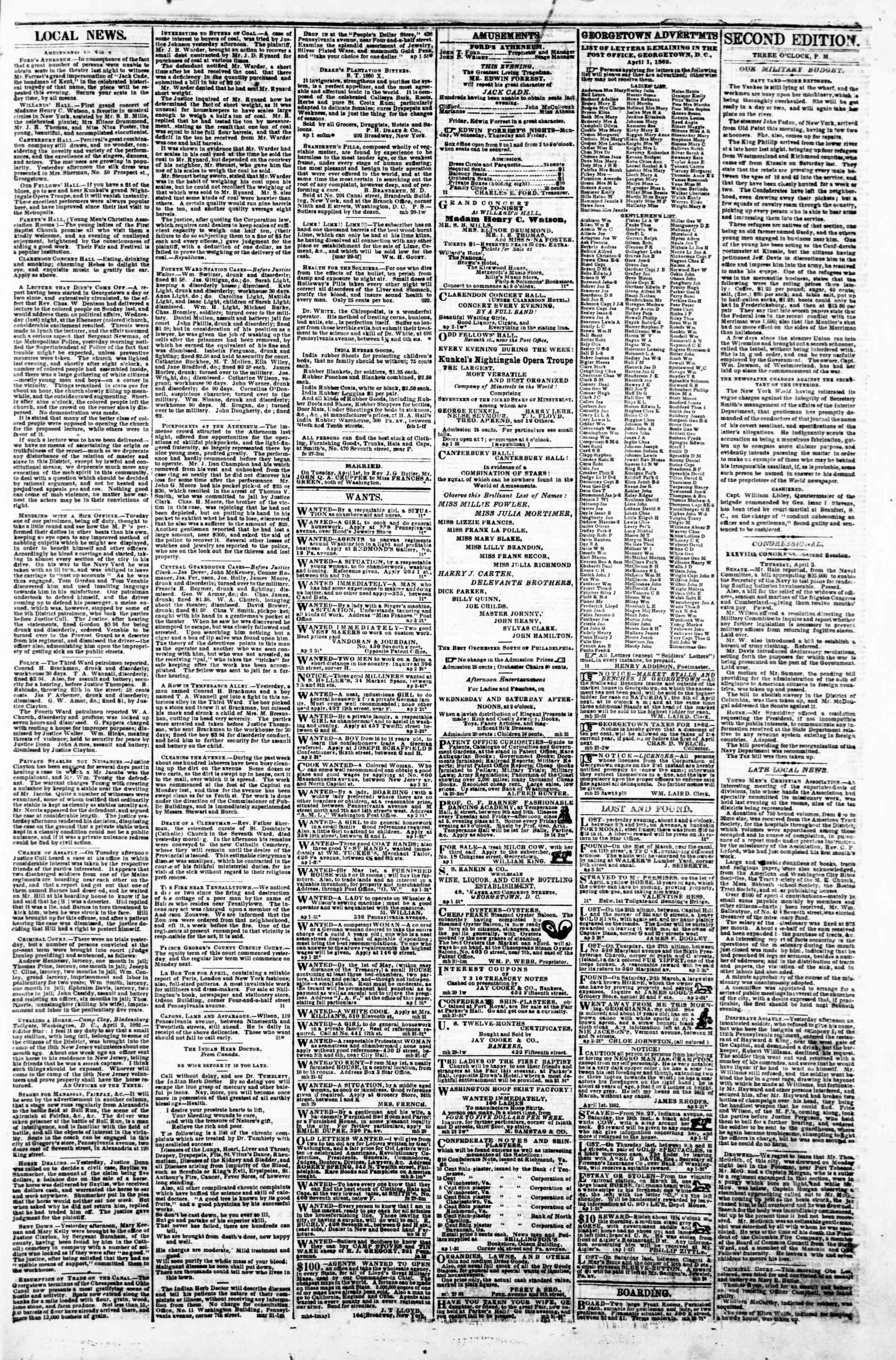 Newspaper of Evening Star dated April 3, 1862 Page 3