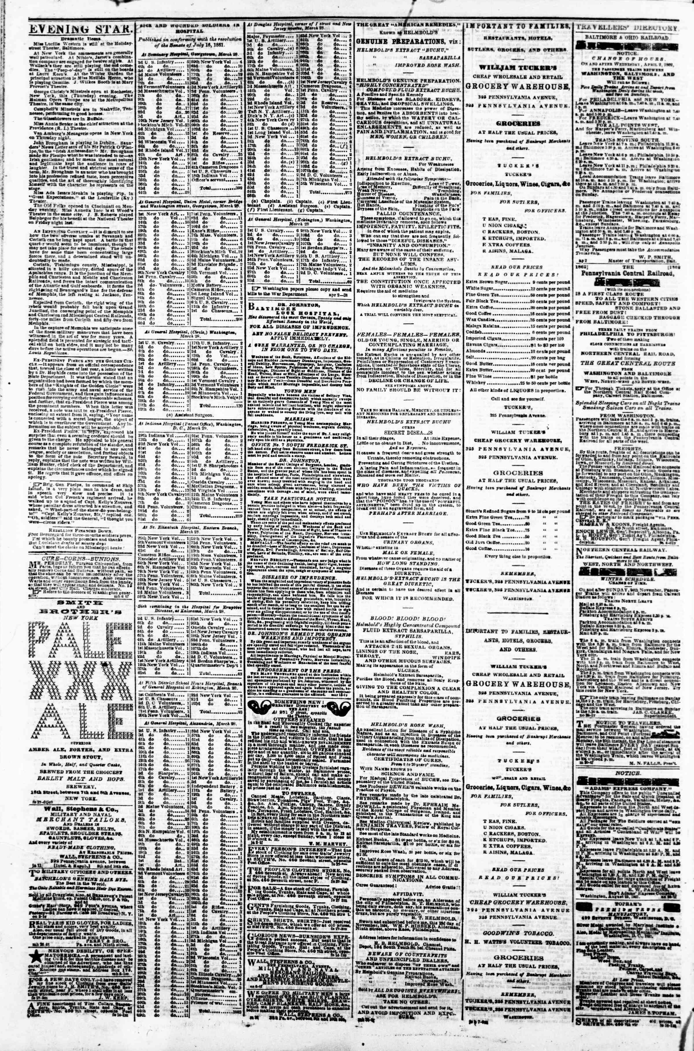 Newspaper of Evening Star dated April 3, 1862 Page 4