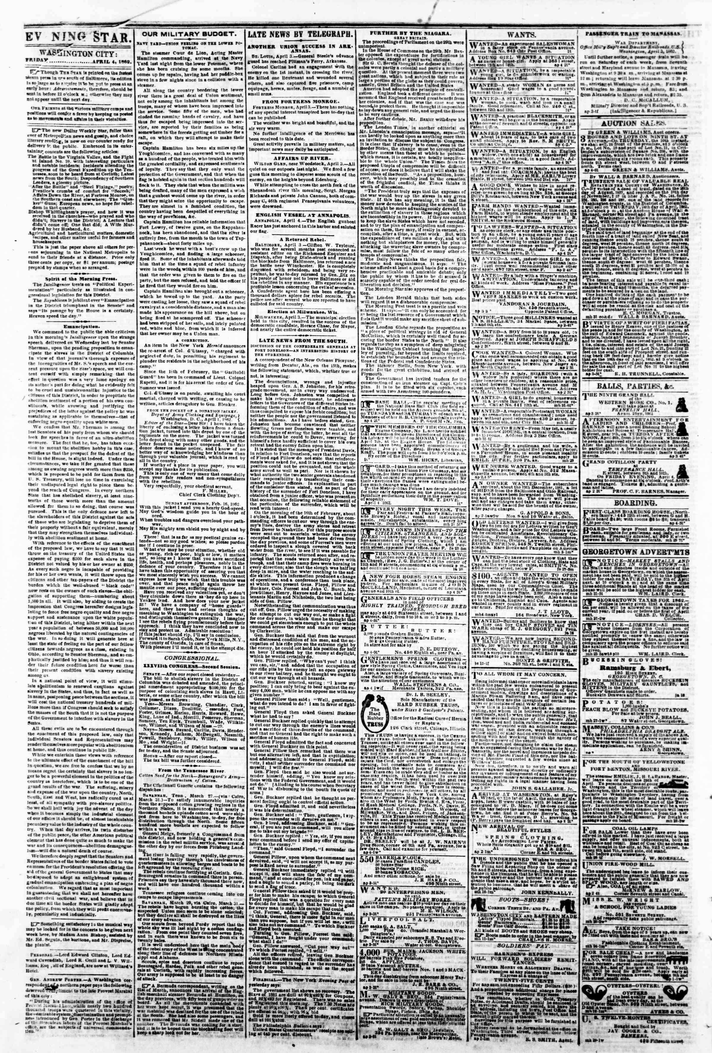 Newspaper of Evening Star dated April 4, 1862 Page 2