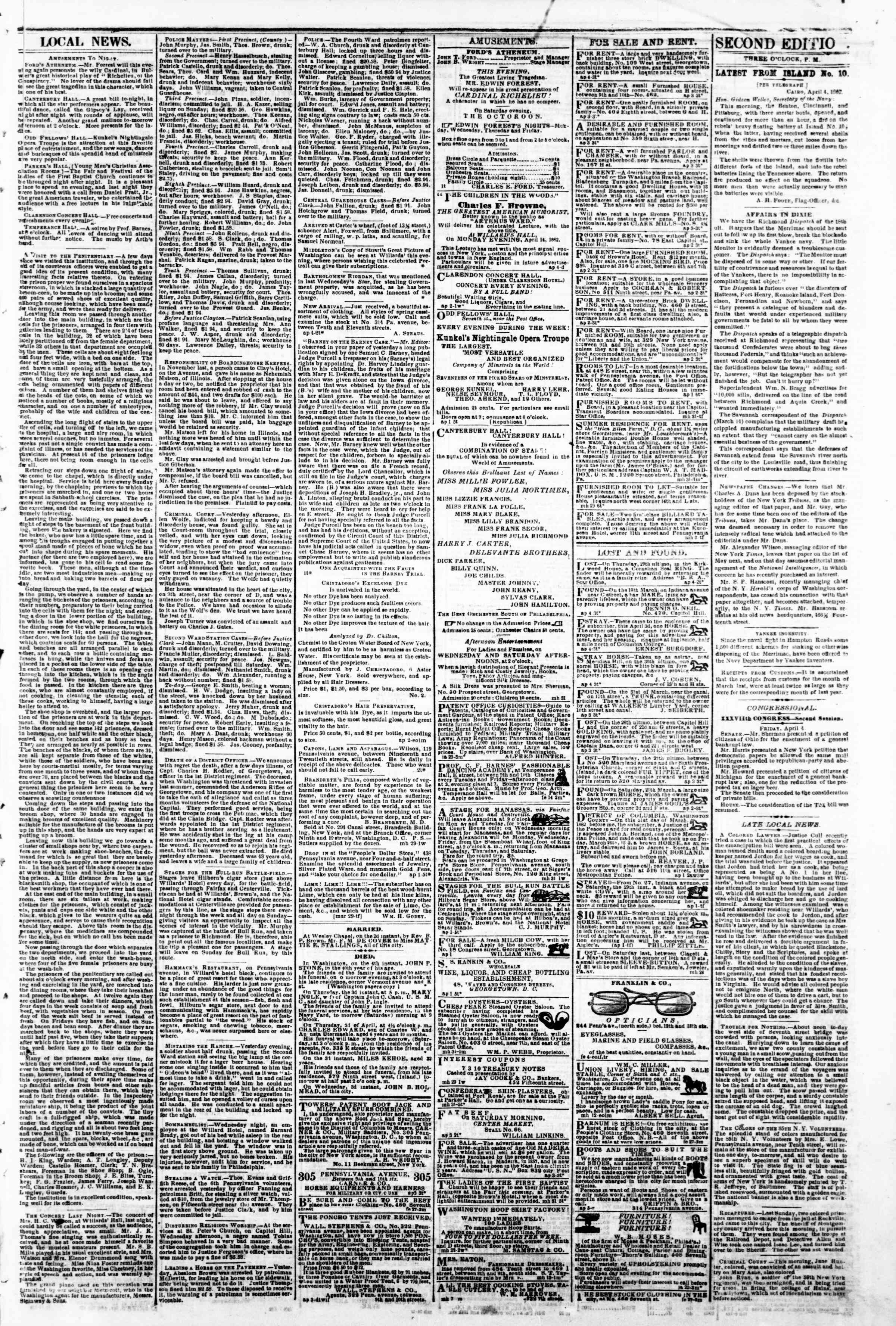 Newspaper of Evening Star dated April 4, 1862 Page 3