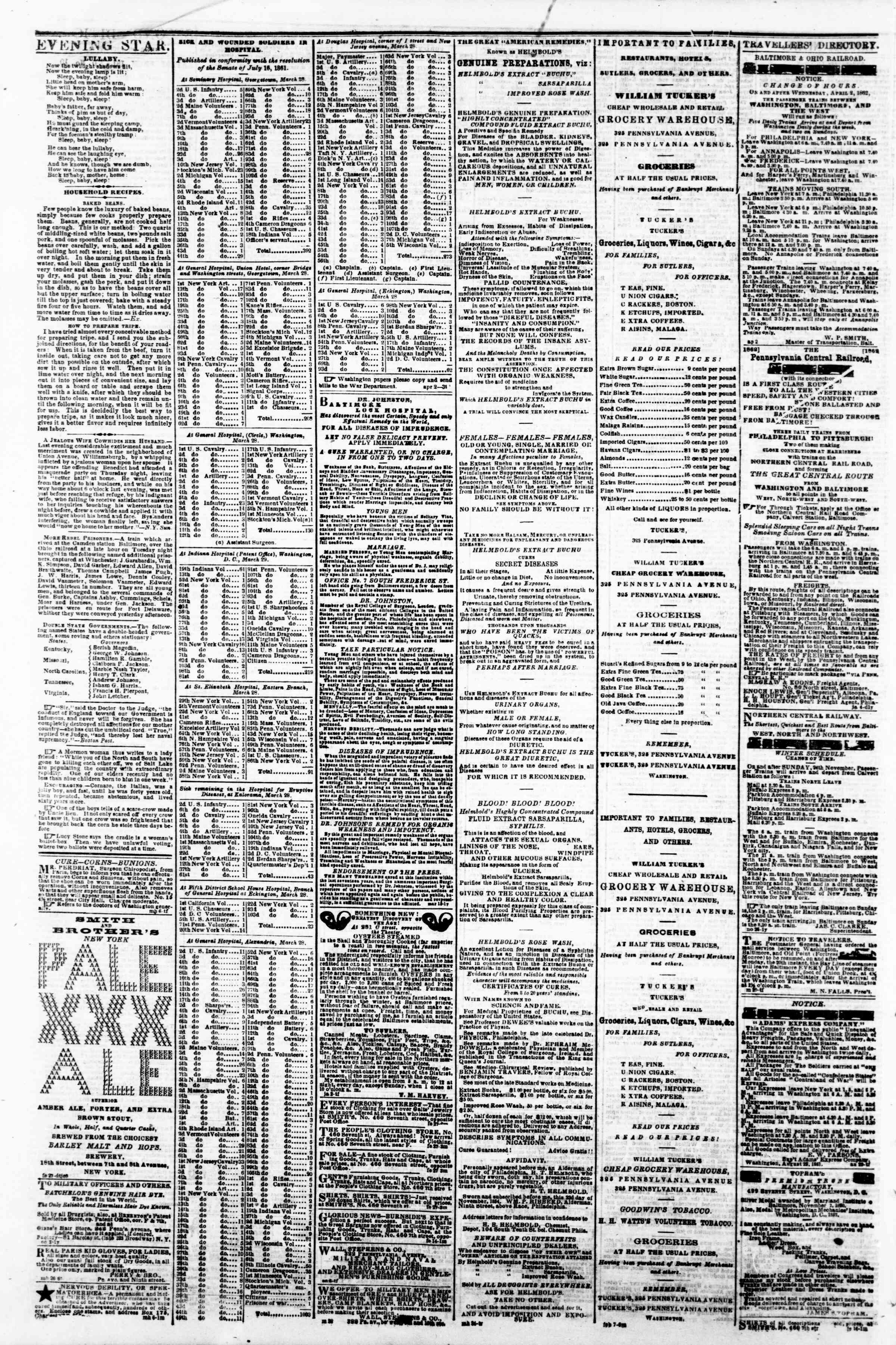 Newspaper of Evening Star dated April 4, 1862 Page 4