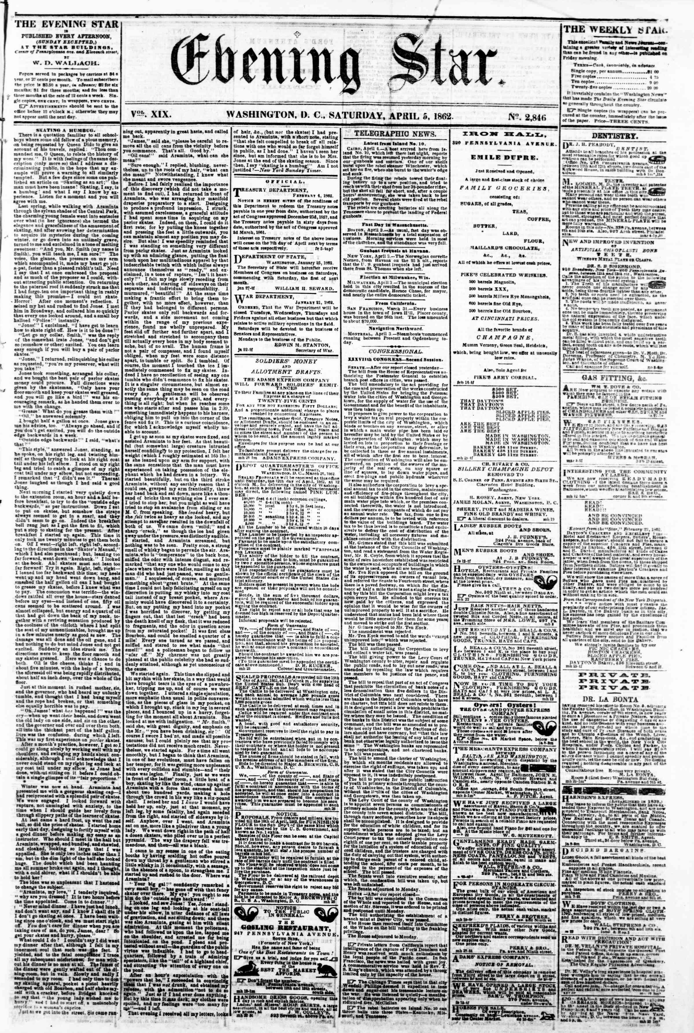 Newspaper of Evening Star dated April 5, 1862 Page 1