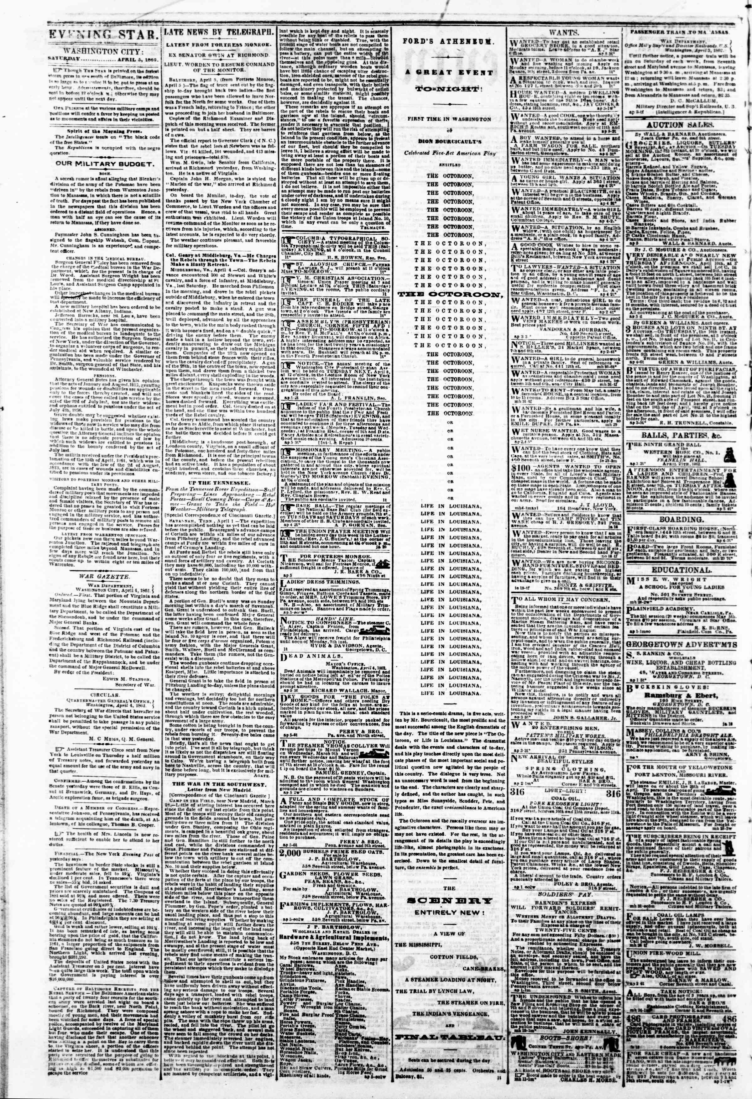 Newspaper of Evening Star dated April 5, 1862 Page 2