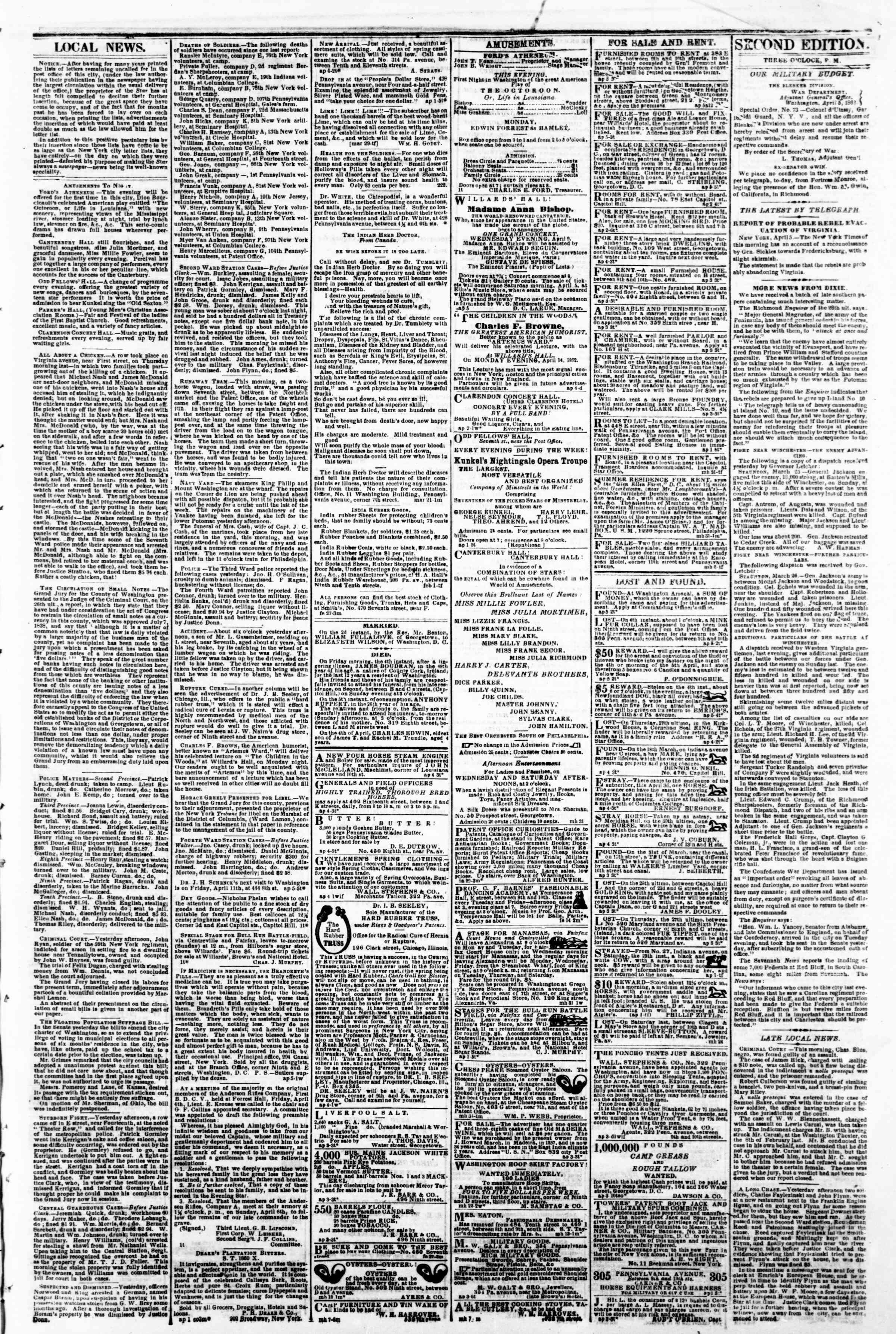 Newspaper of Evening Star dated April 5, 1862 Page 3