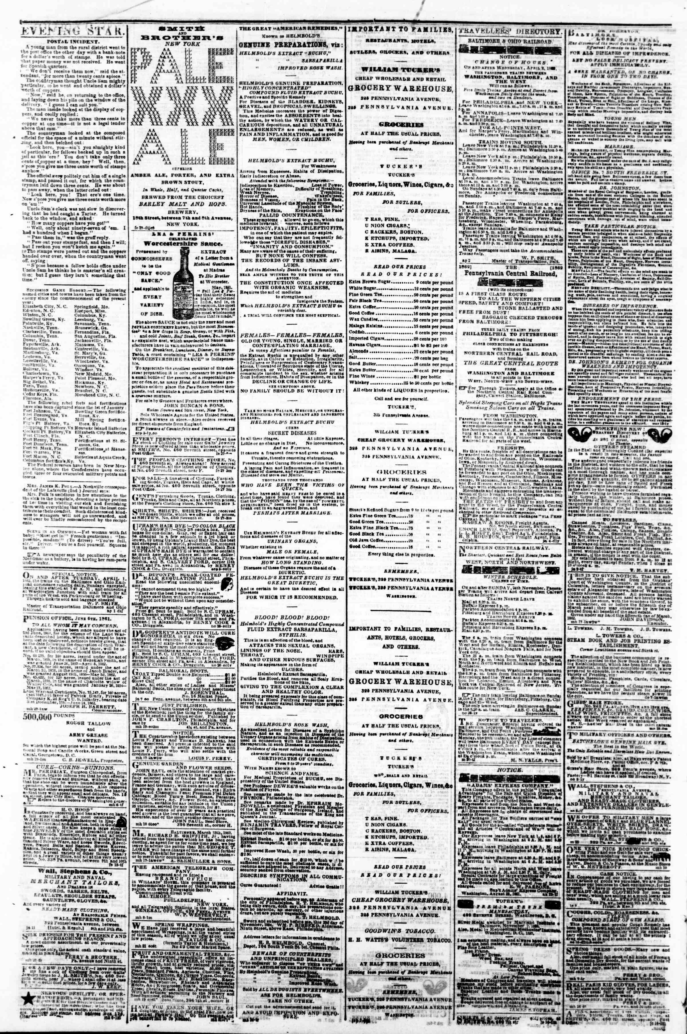 Newspaper of Evening Star dated April 5, 1862 Page 4
