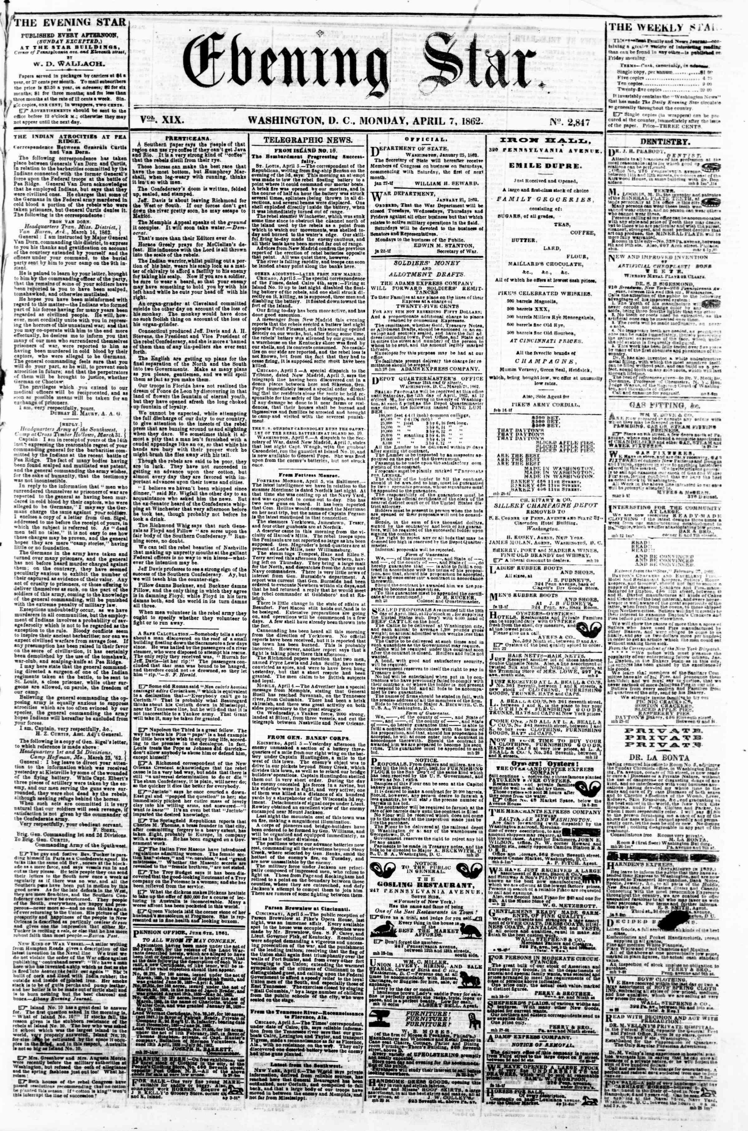 7 Nisan 1862 tarihli Evening Star Gazetesi Sayfa 1