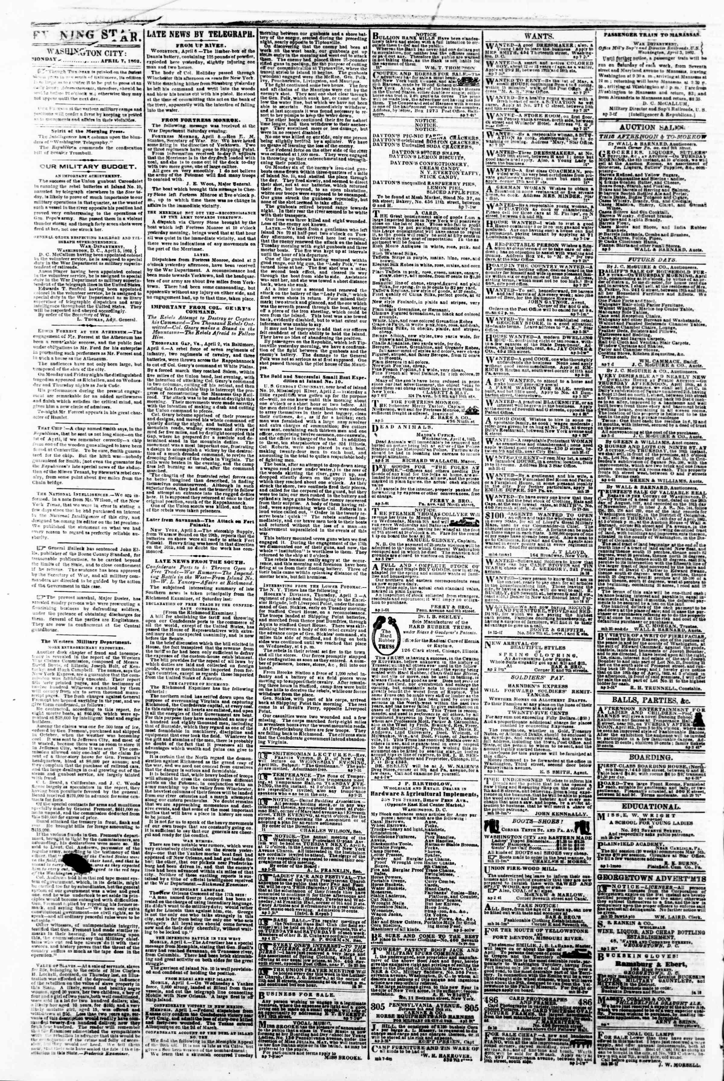 April 7, 1862 tarihli Evening Star Gazetesi Sayfa 2
