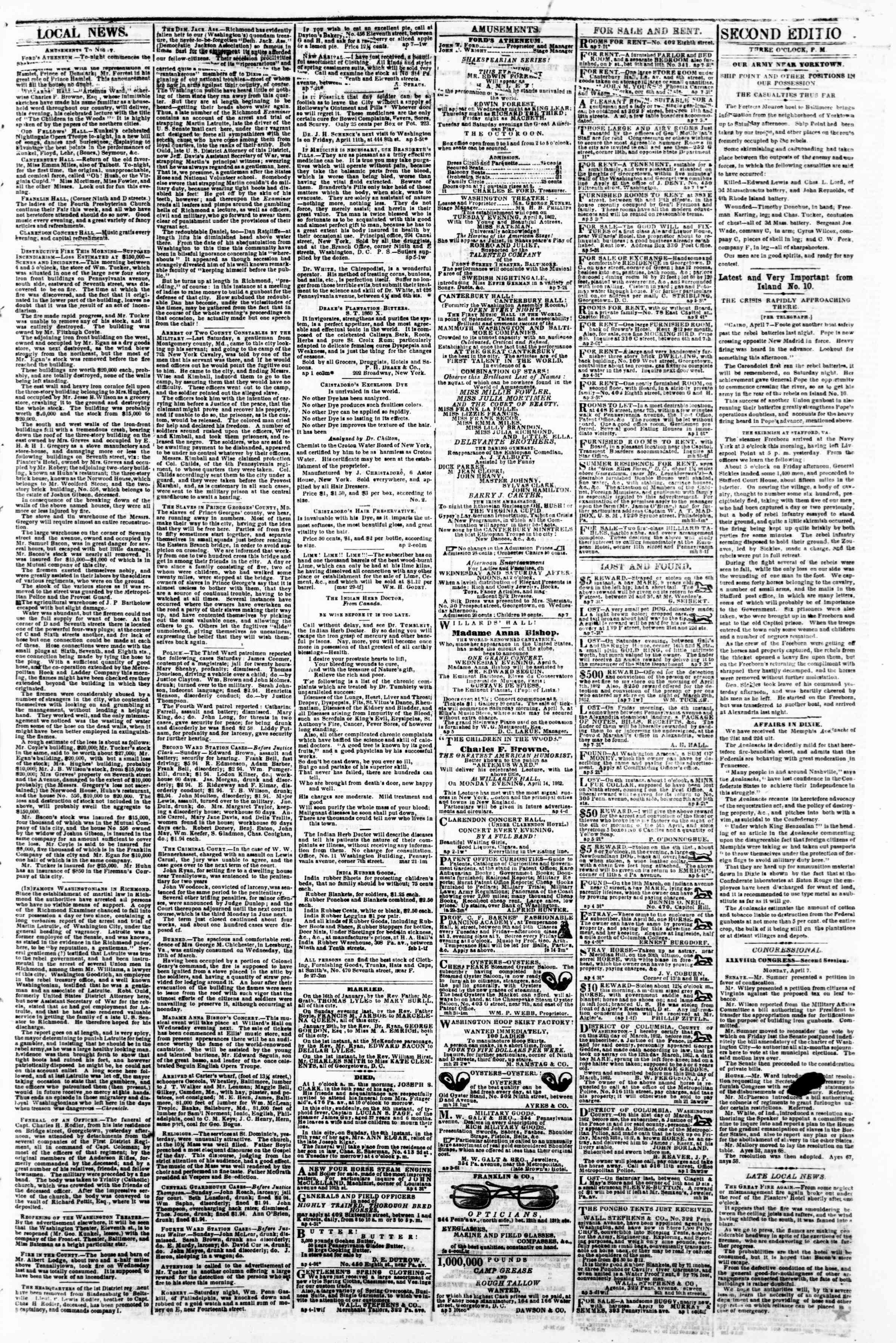 Newspaper of Evening Star dated April 7, 1862 Page 3