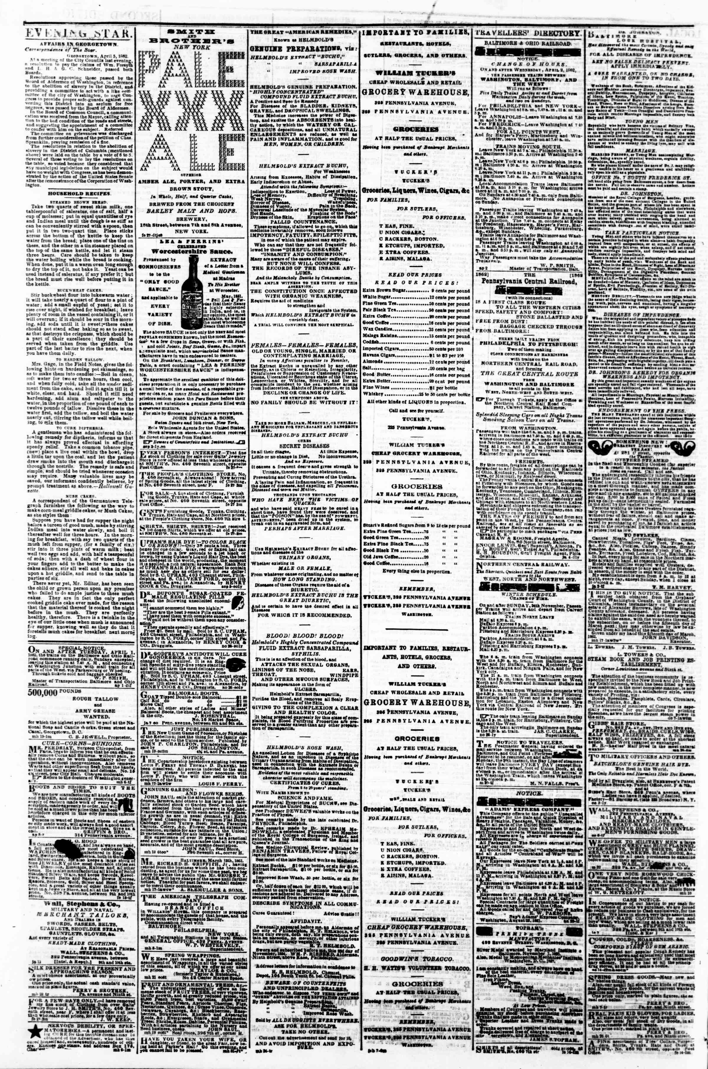 Newspaper of Evening Star dated April 7, 1862 Page 4