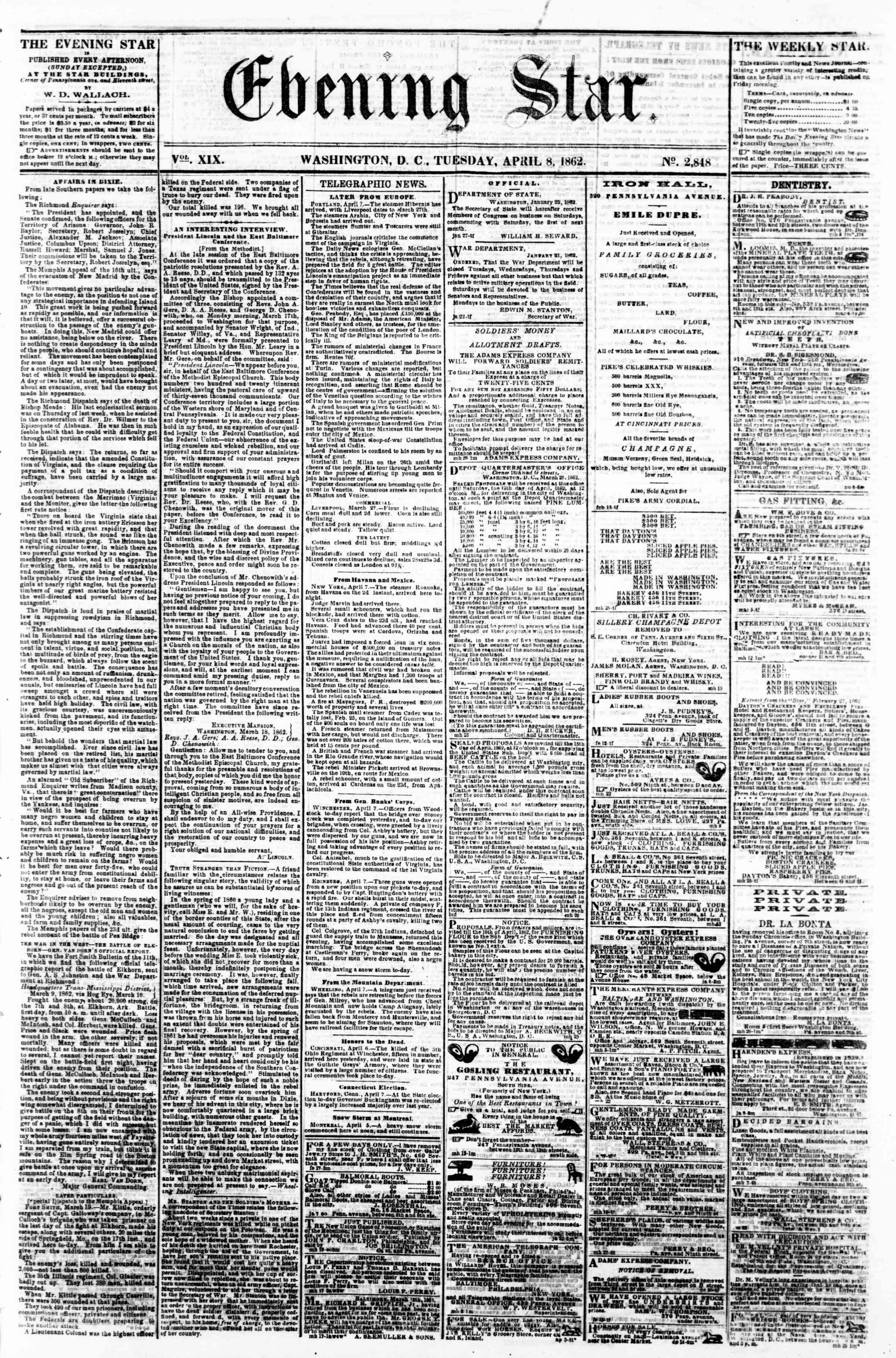 Newspaper of Evening Star dated April 8, 1862 Page 1