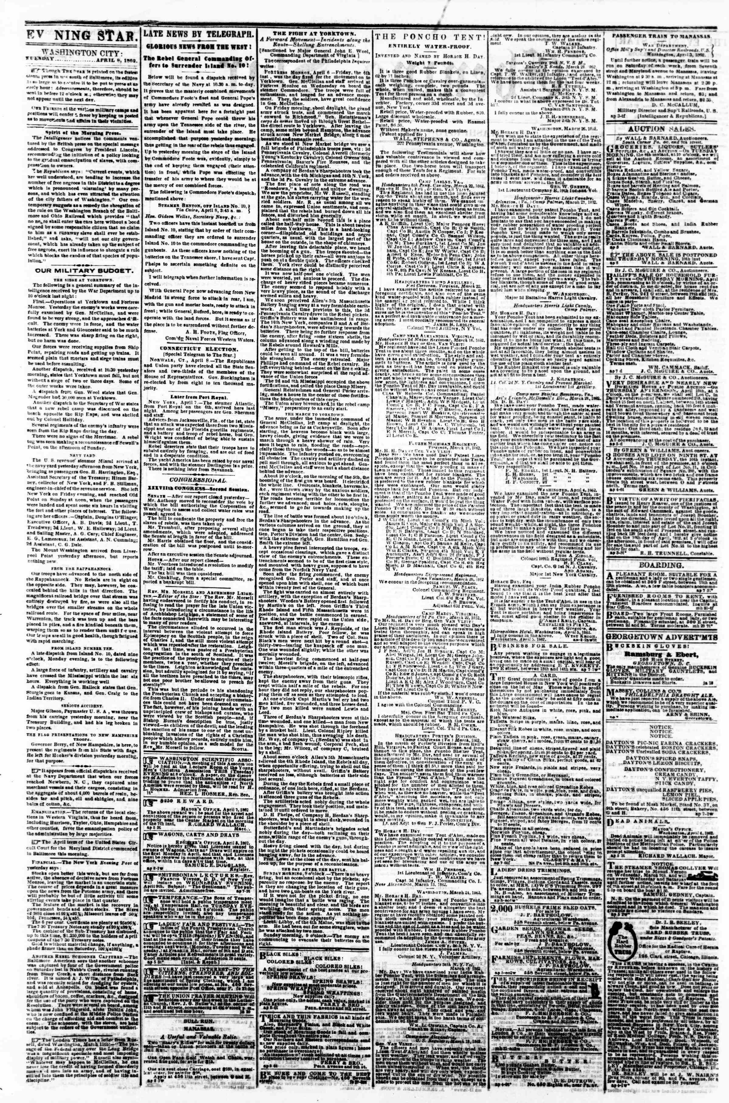 Newspaper of Evening Star dated April 8, 1862 Page 2