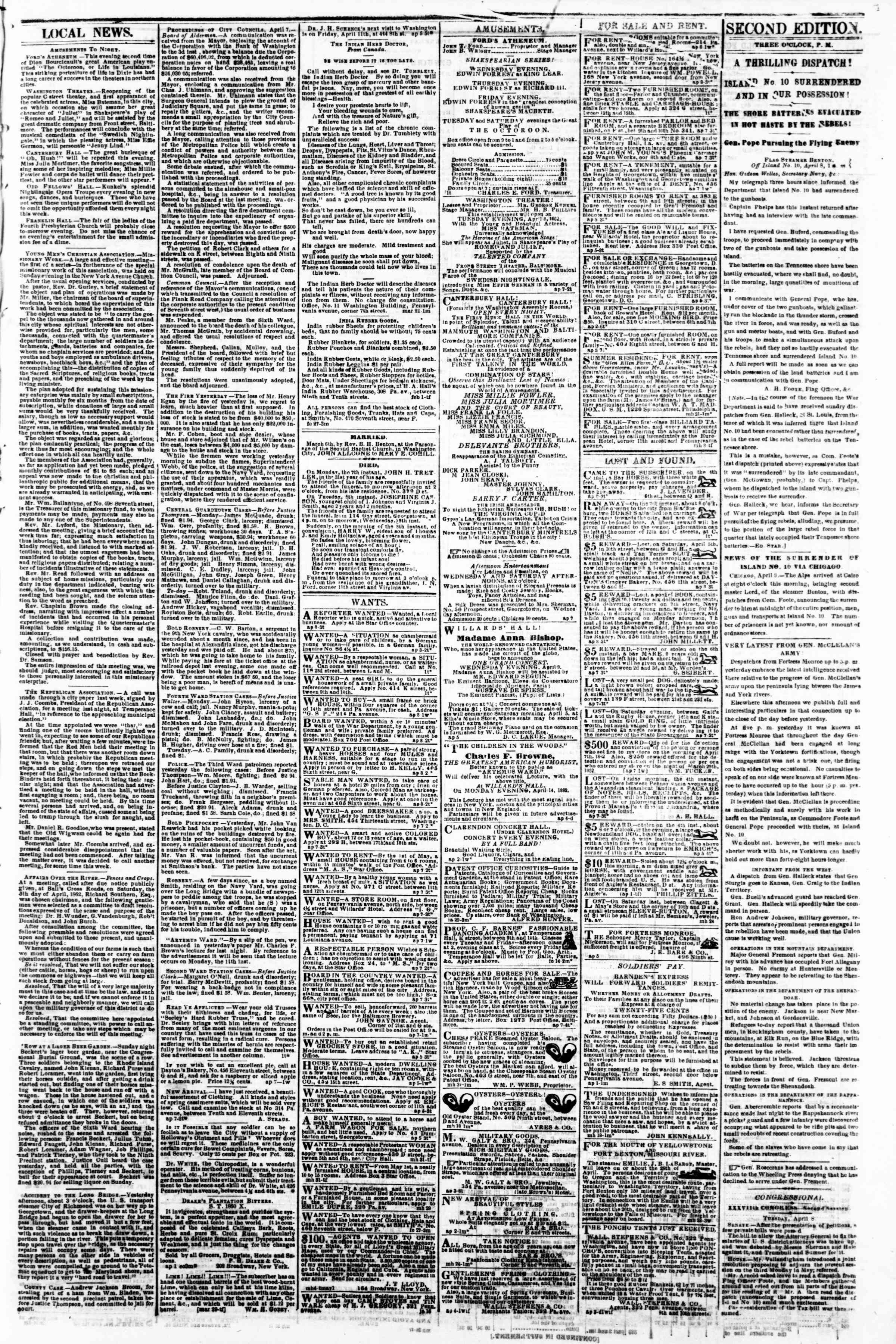 Newspaper of Evening Star dated April 8, 1862 Page 3