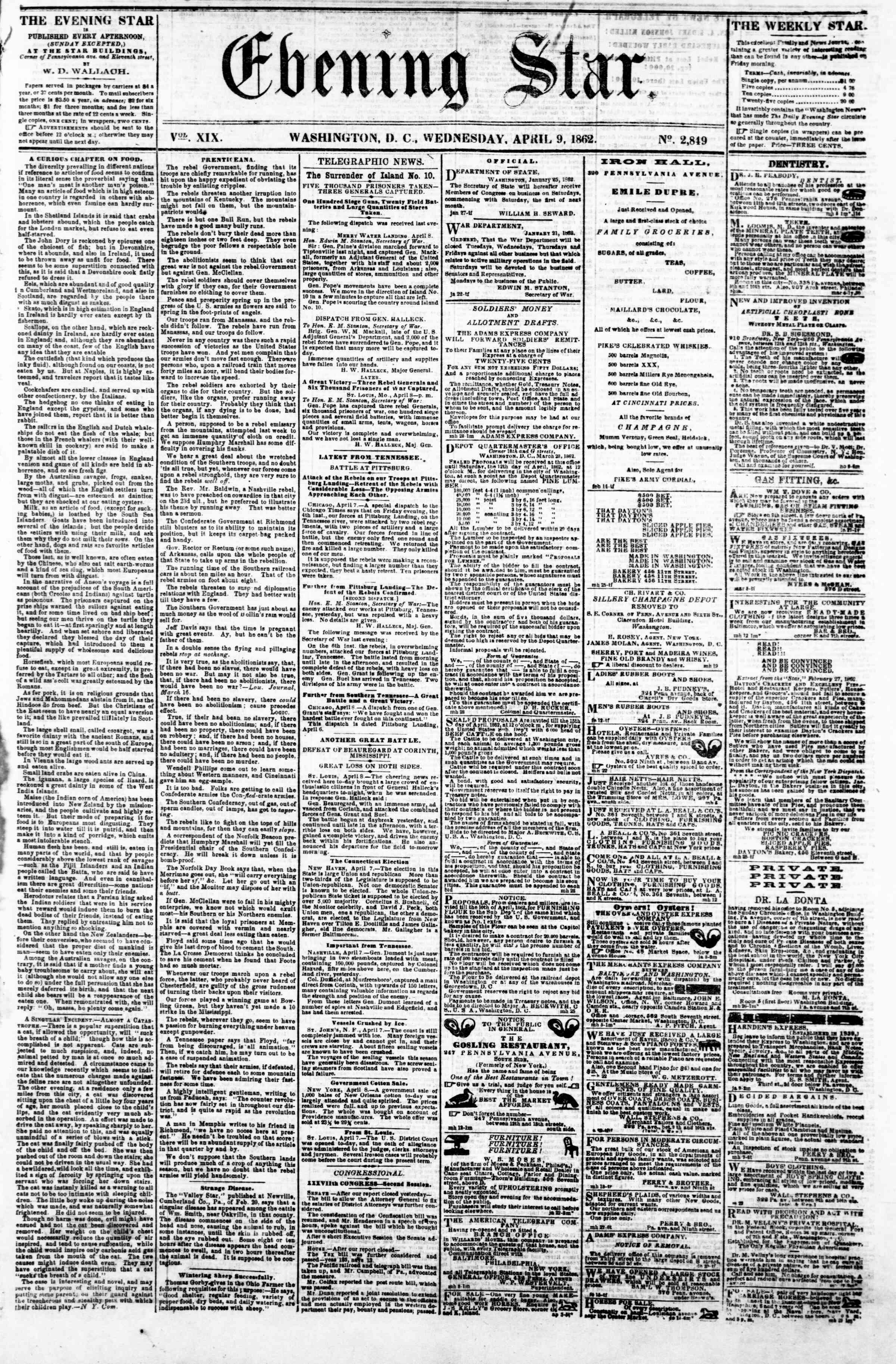 Newspaper of Evening Star dated April 9, 1862 Page 1