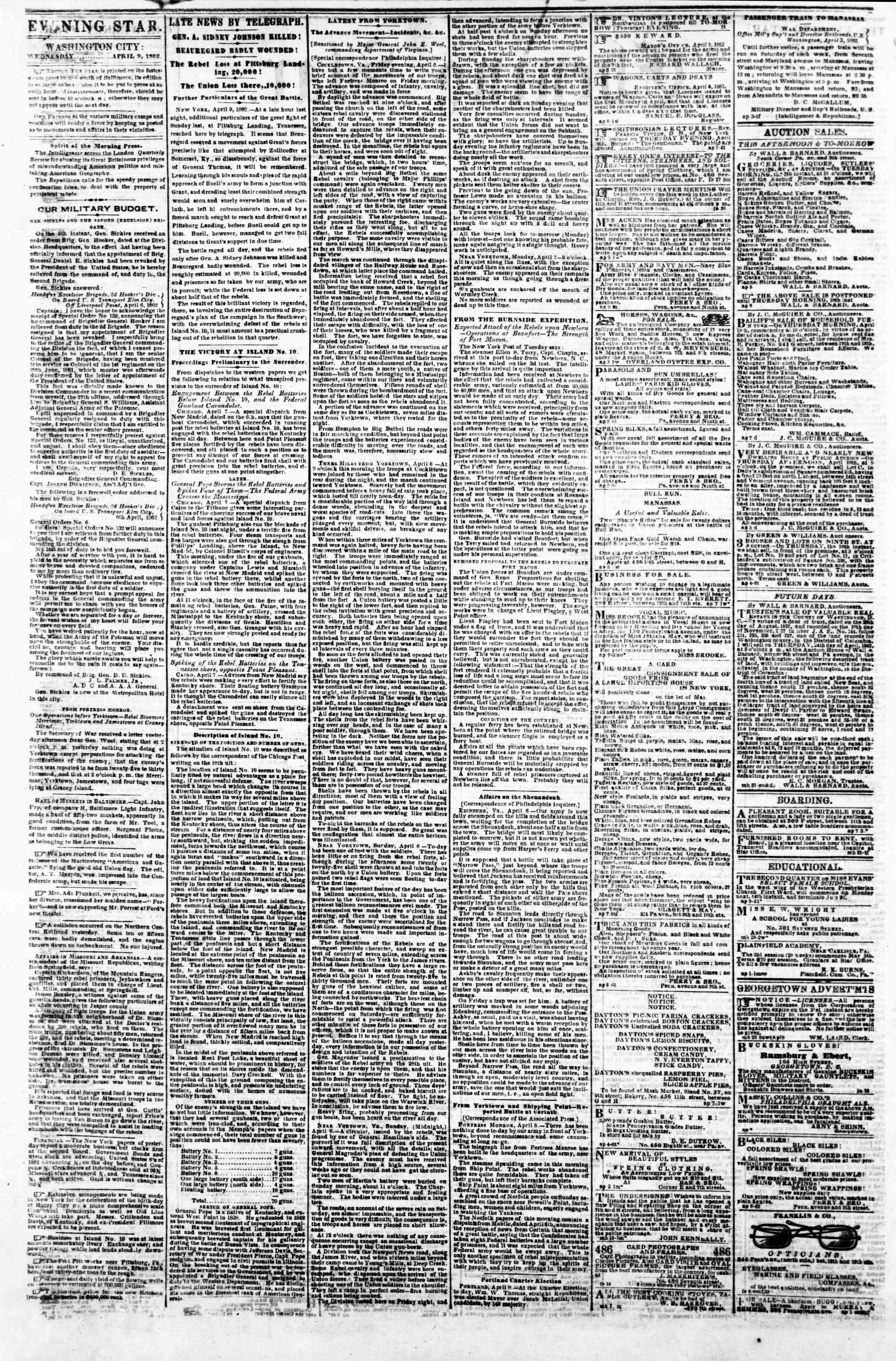 Newspaper of Evening Star dated April 9, 1862 Page 2