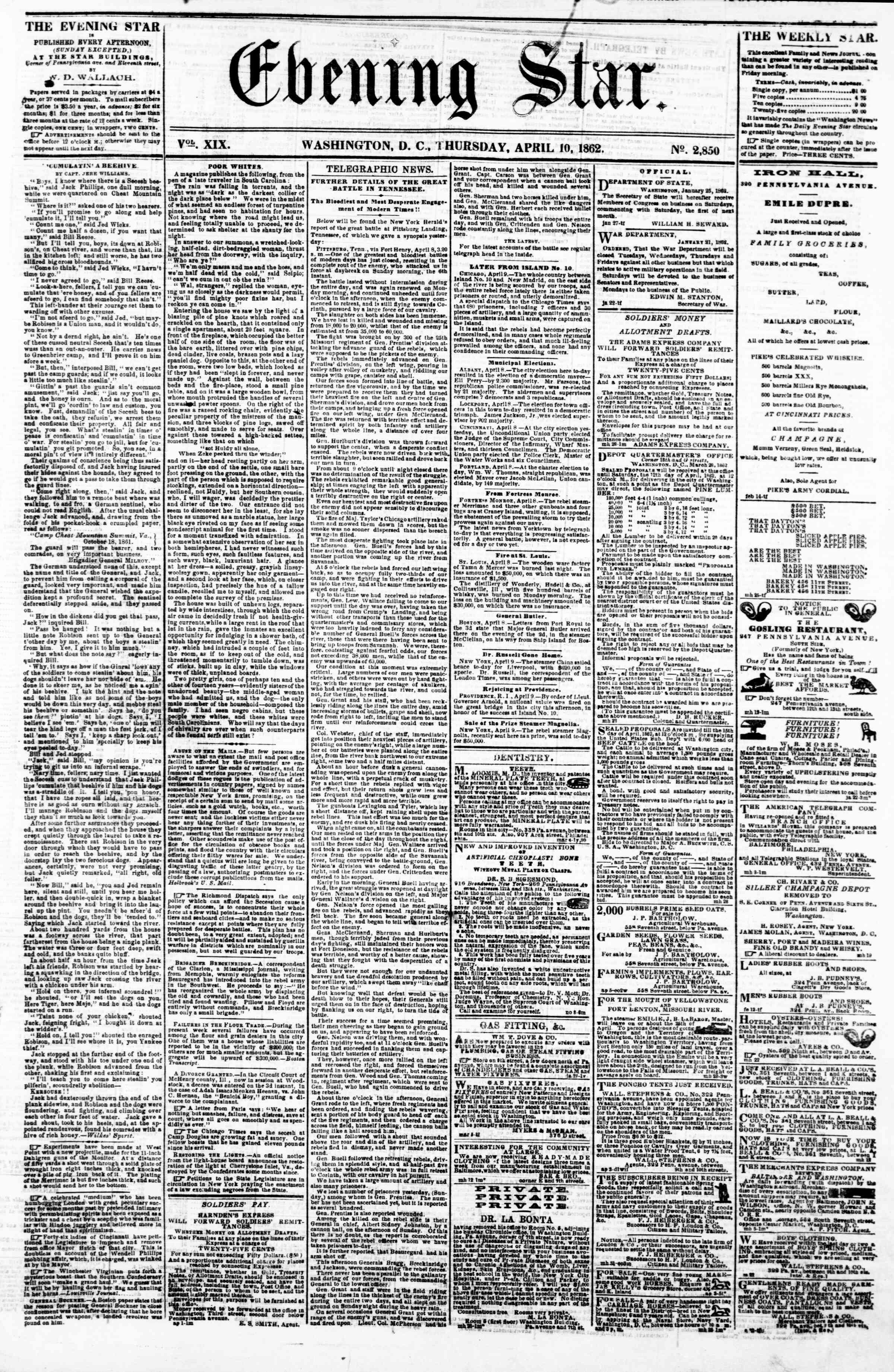 Newspaper of Evening Star dated April 10, 1862 Page 1
