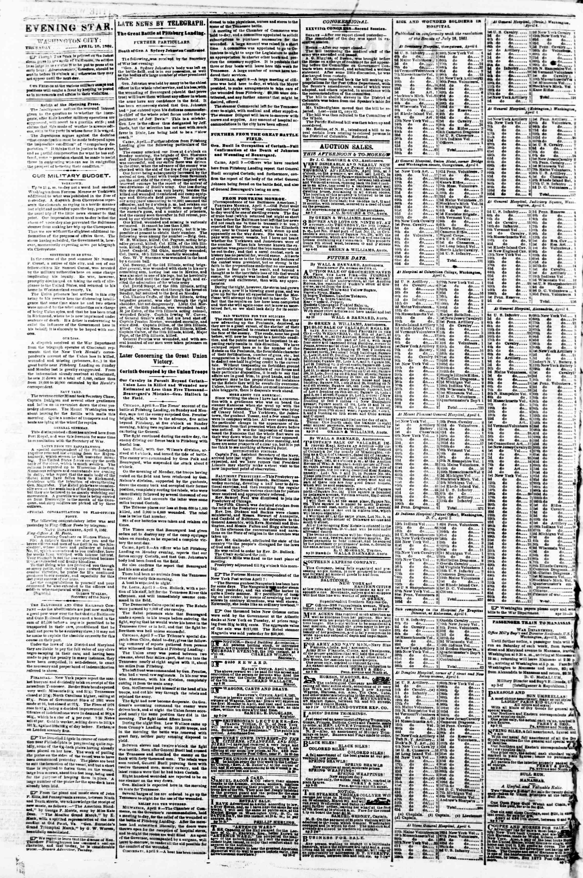 Newspaper of Evening Star dated April 10, 1862 Page 2