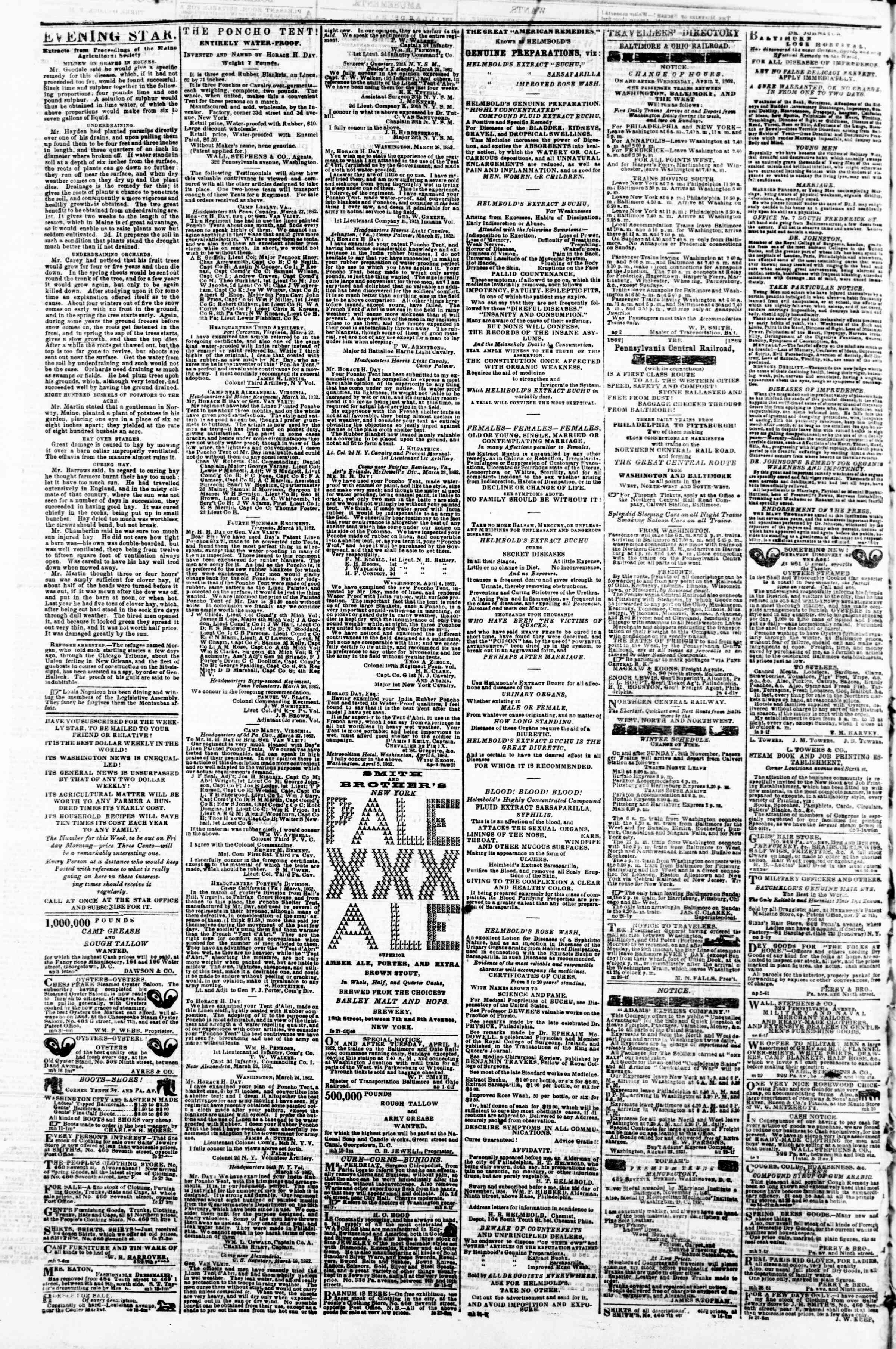 Newspaper of Evening Star dated April 10, 1862 Page 4
