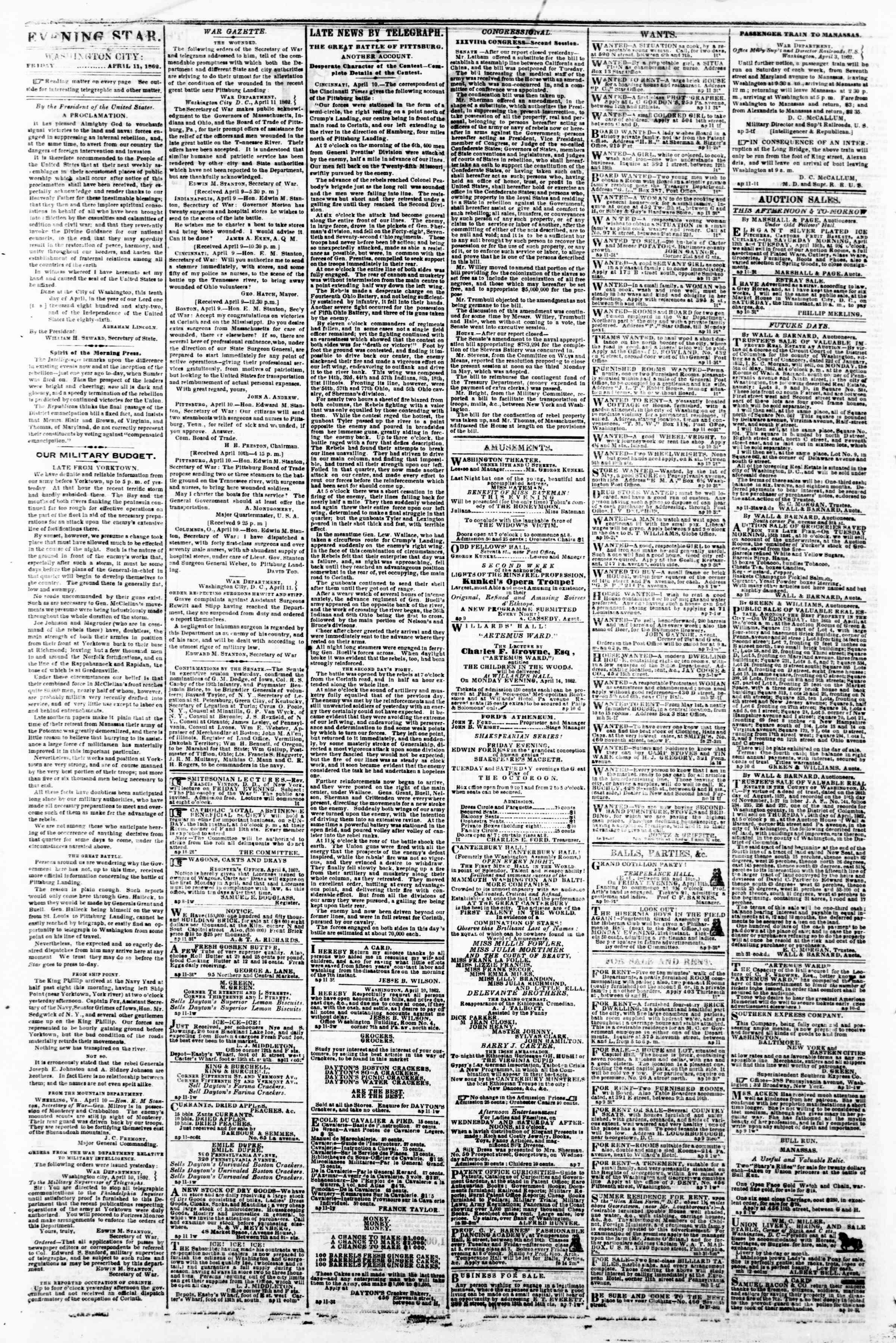 Newspaper of Evening Star dated April 11, 1862 Page 2