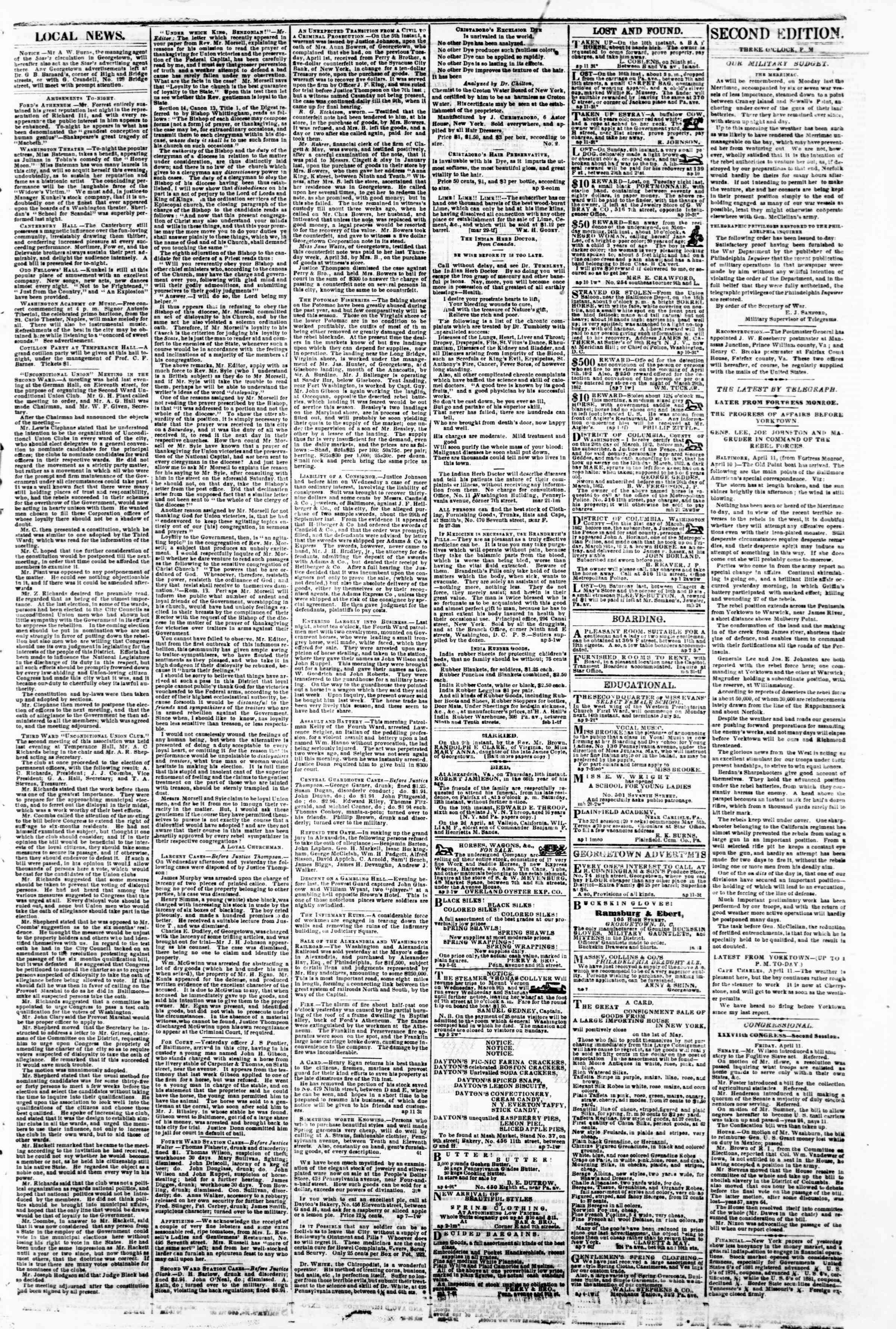 Newspaper of Evening Star dated April 11, 1862 Page 3