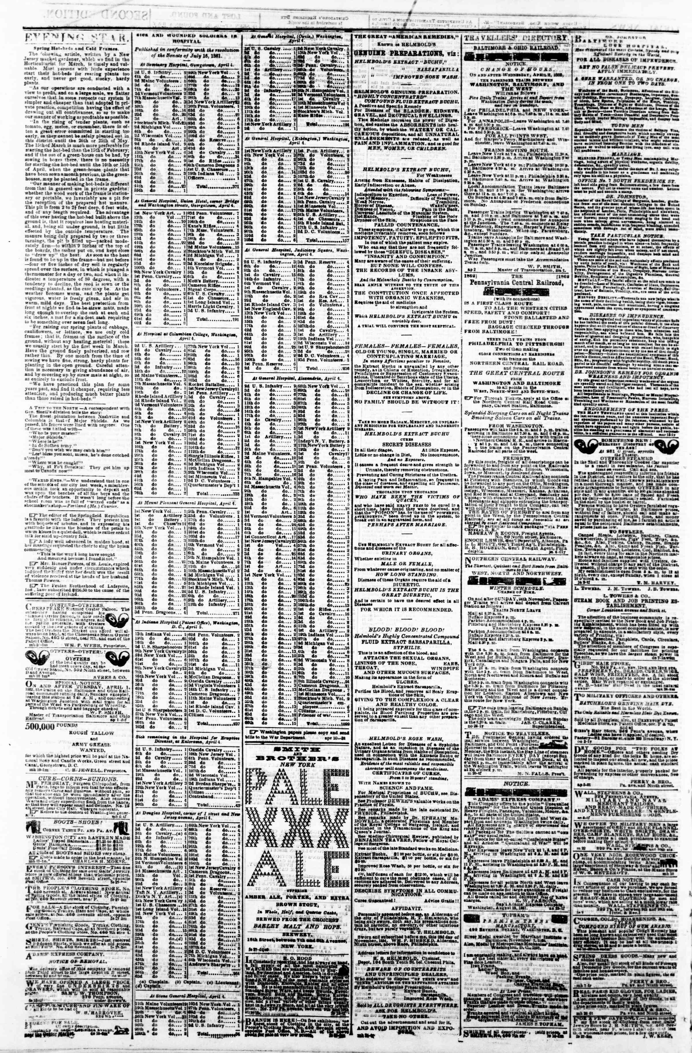 Newspaper of Evening Star dated April 11, 1862 Page 4
