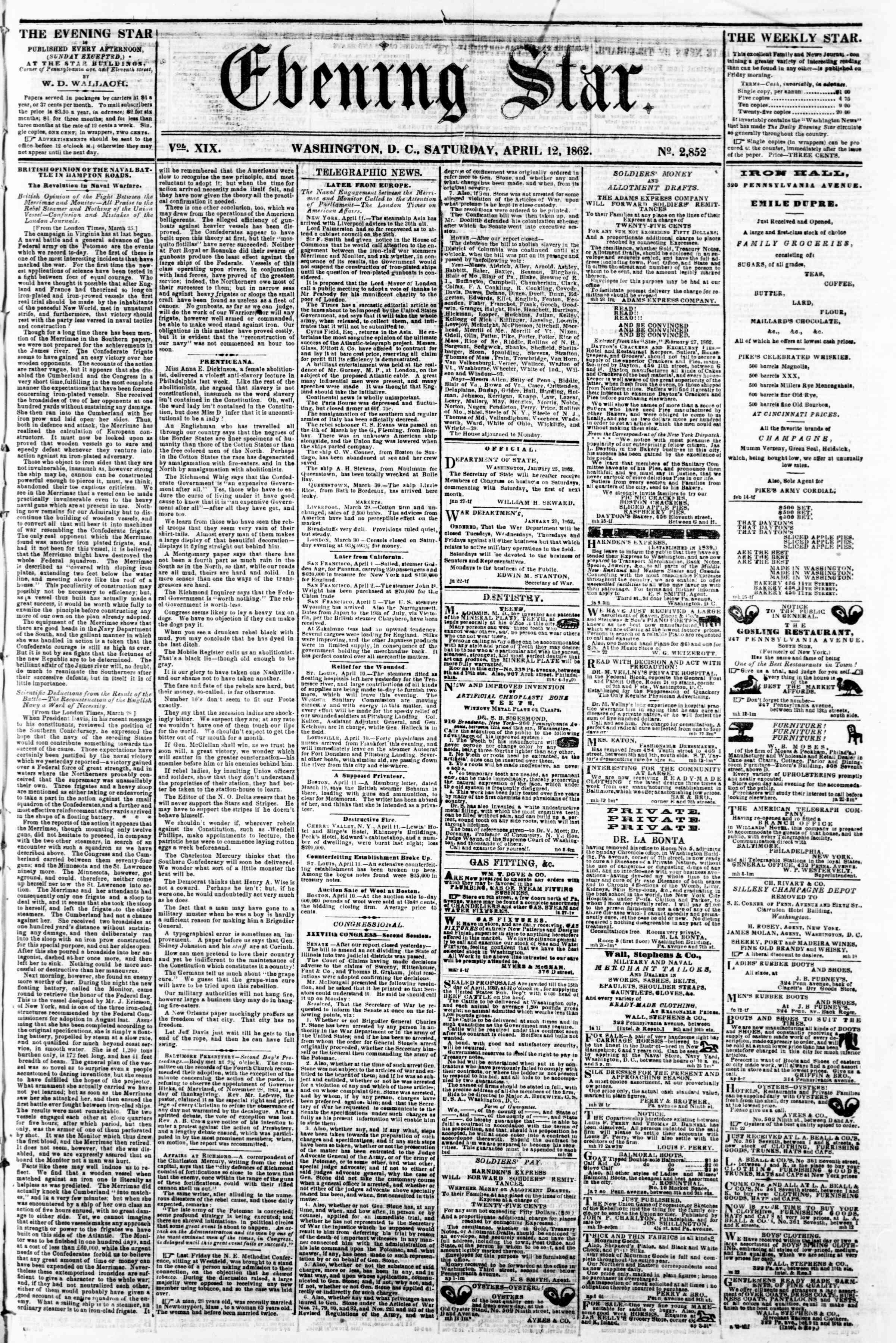 12 Nisan 1862 tarihli Evening Star Gazetesi Sayfa 1