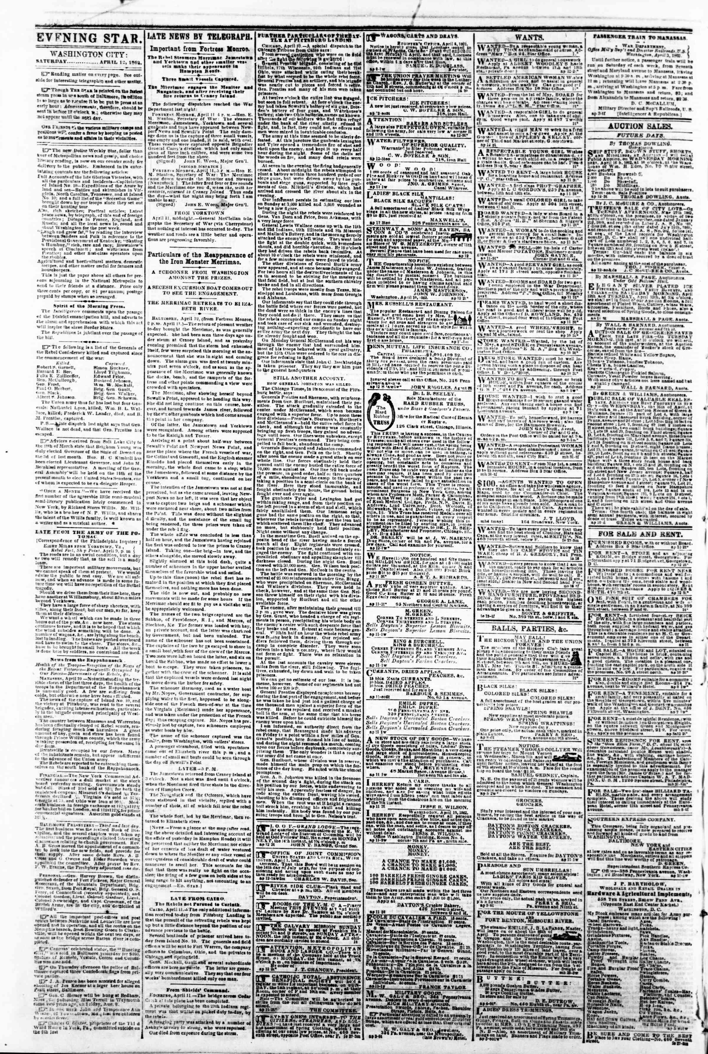 12 Nisan 1862 tarihli Evening Star Gazetesi Sayfa 2