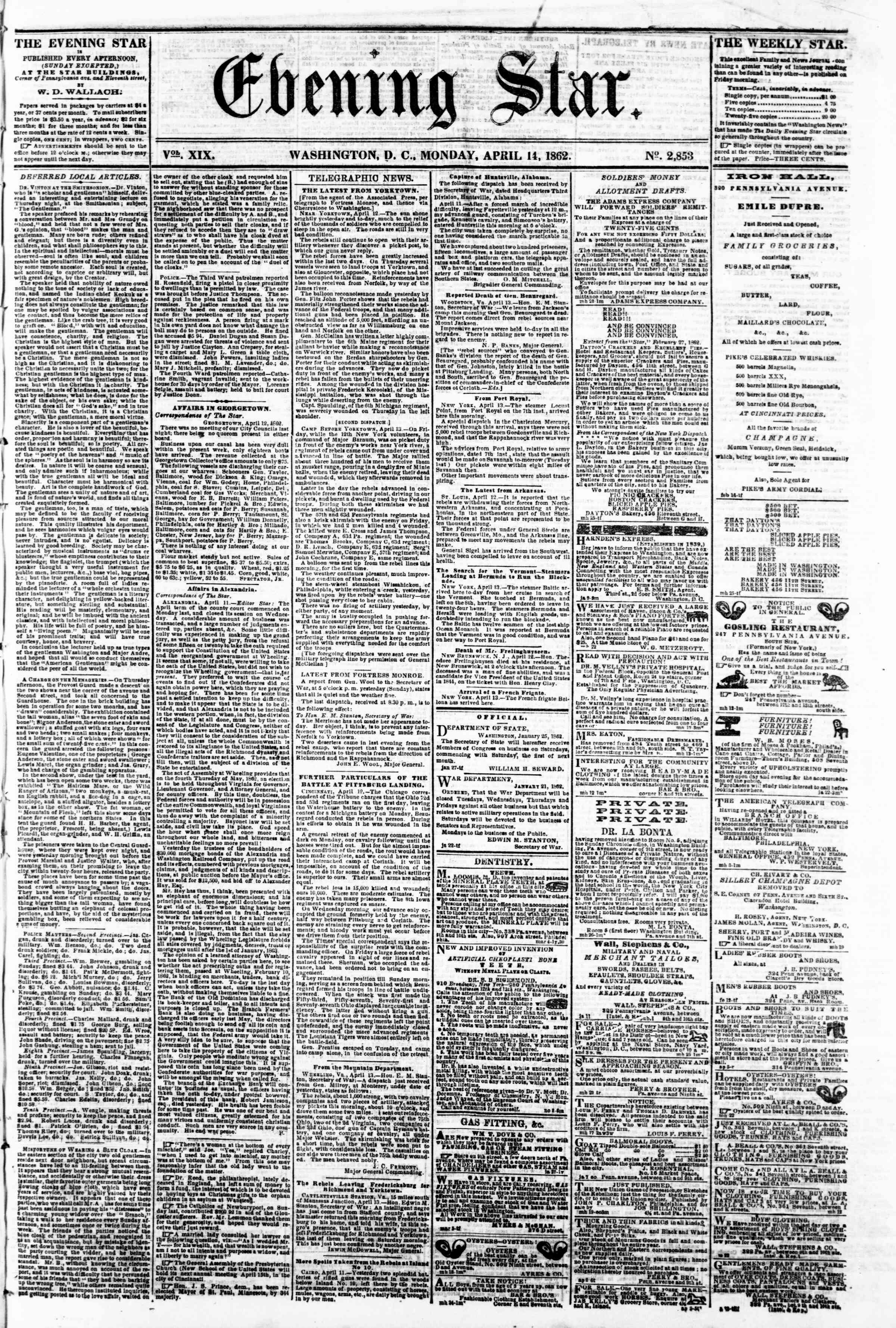 Newspaper of Evening Star dated April 14, 1862 Page 1