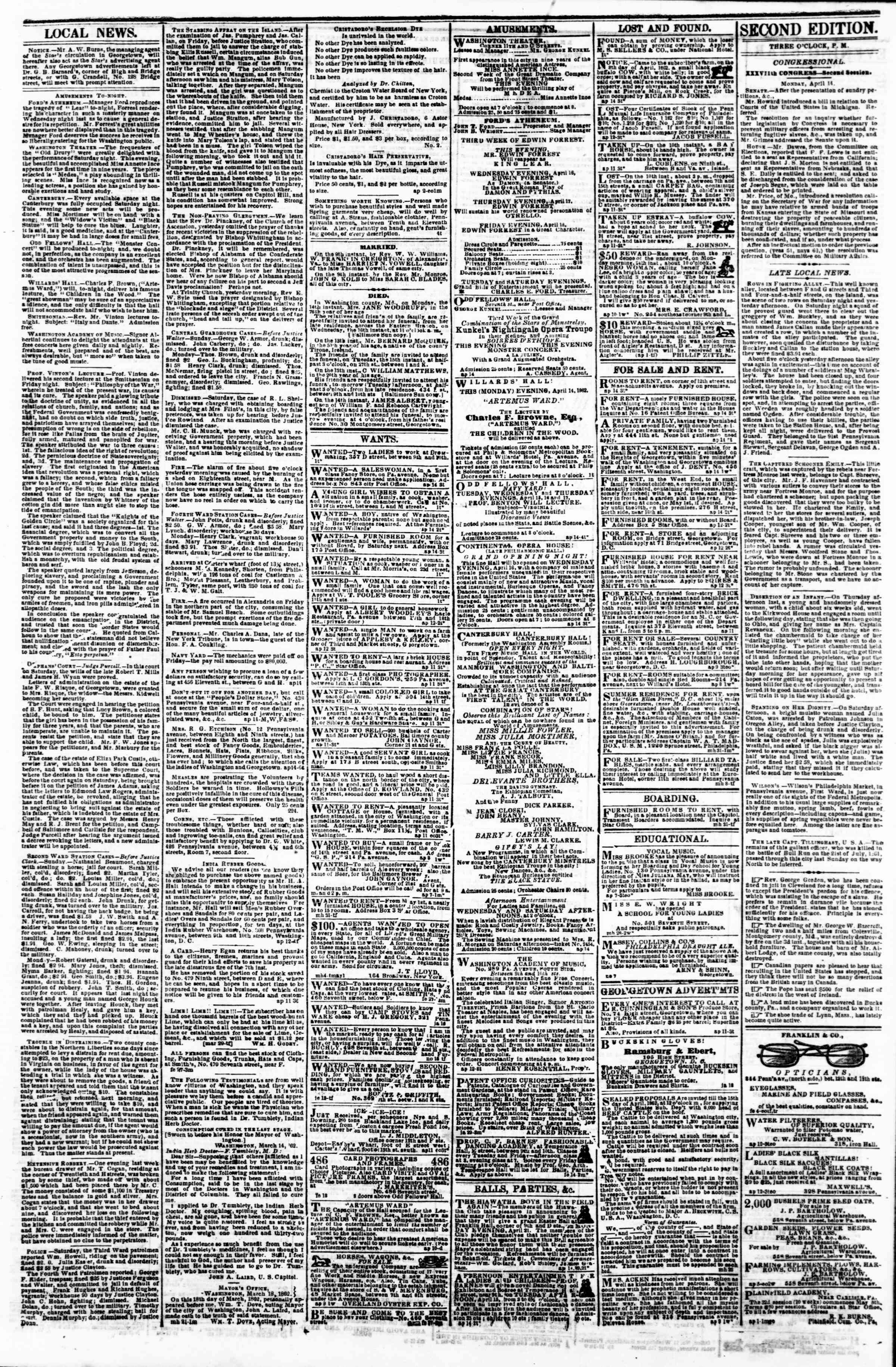 Newspaper of Evening Star dated April 14, 1862 Page 3