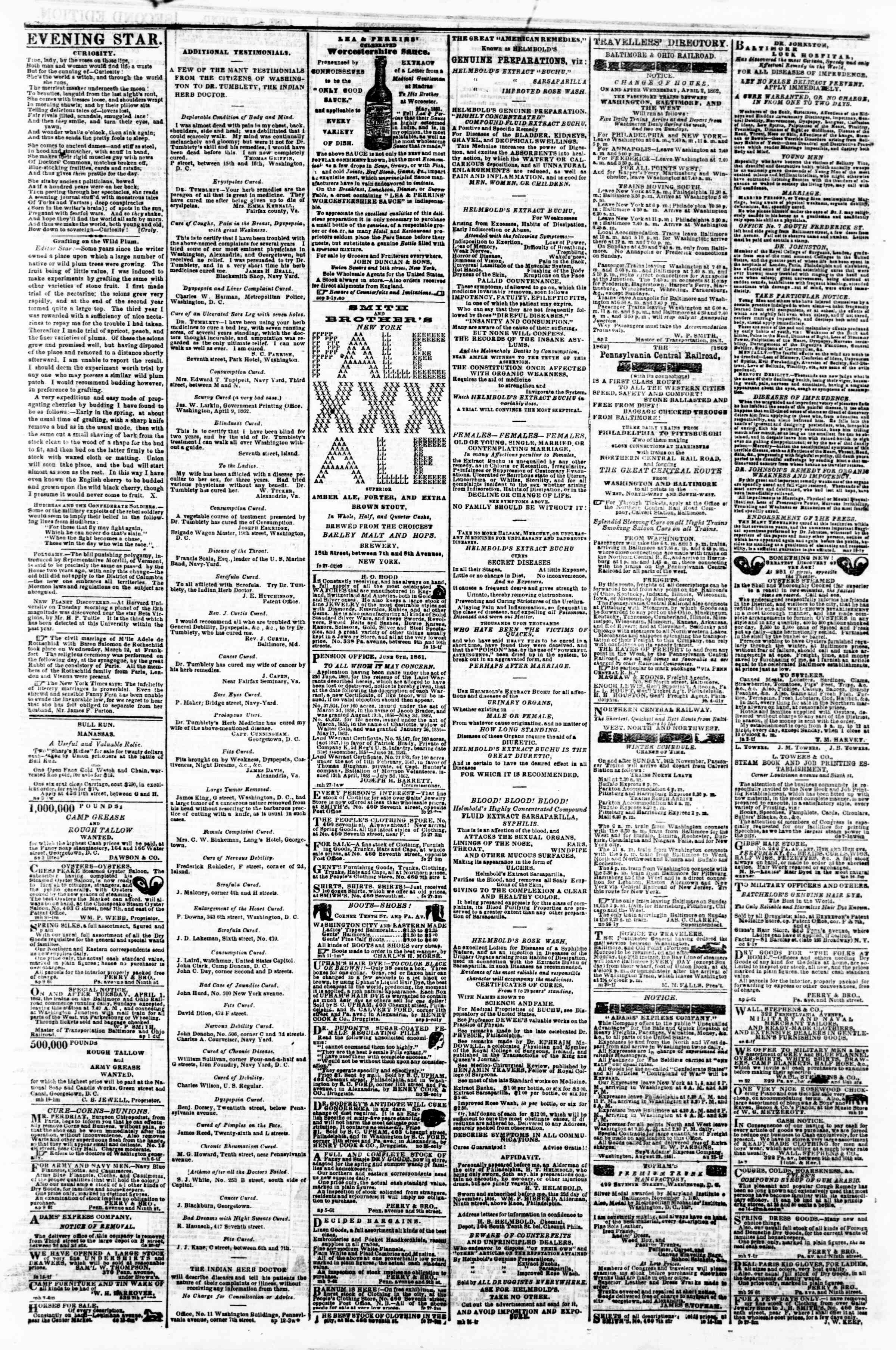 Newspaper of Evening Star dated April 14, 1862 Page 4