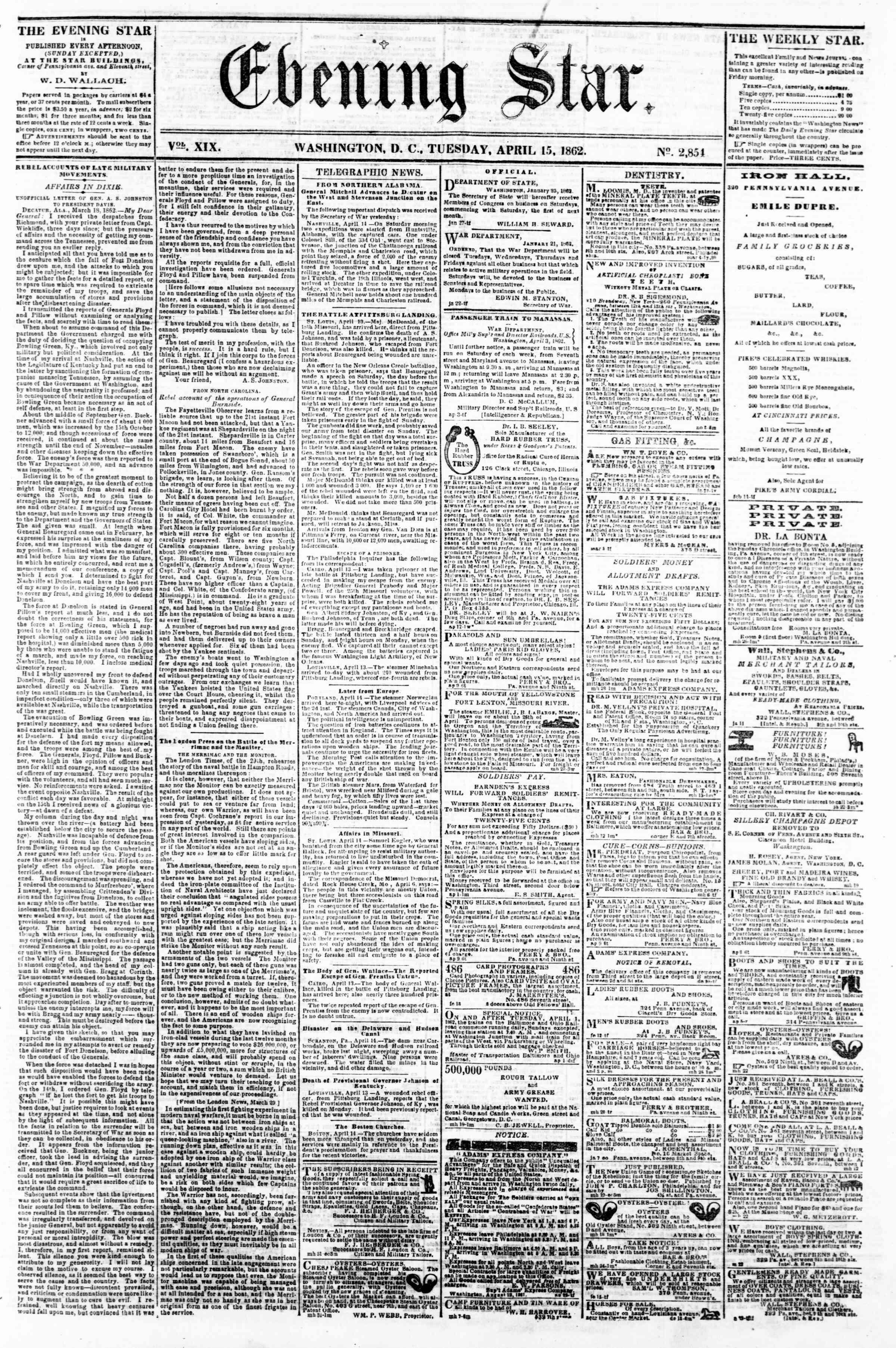 15 Nisan 1862 tarihli Evening Star Gazetesi Sayfa 1