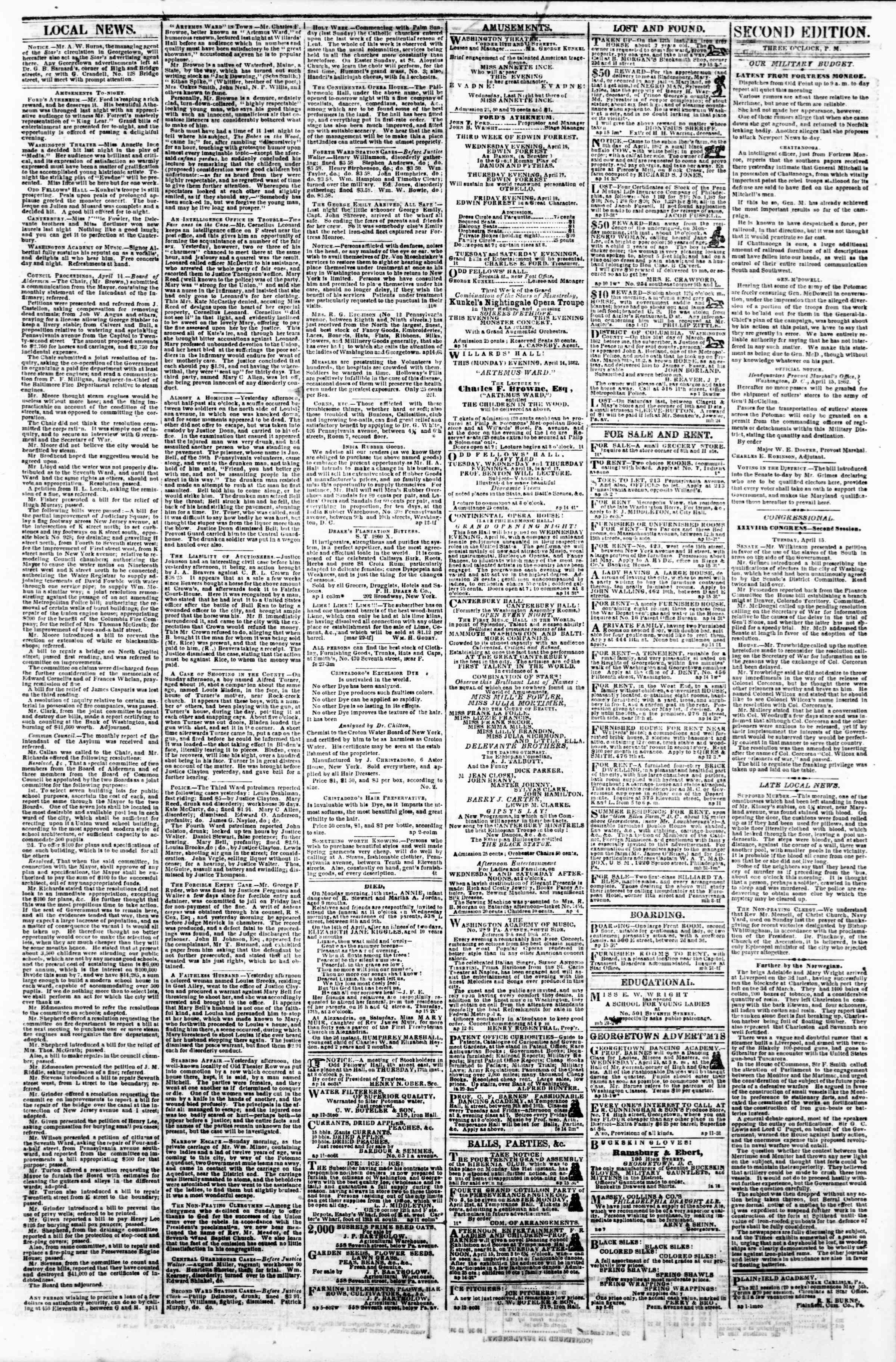 Newspaper of Evening Star dated April 15, 1862 Page 3