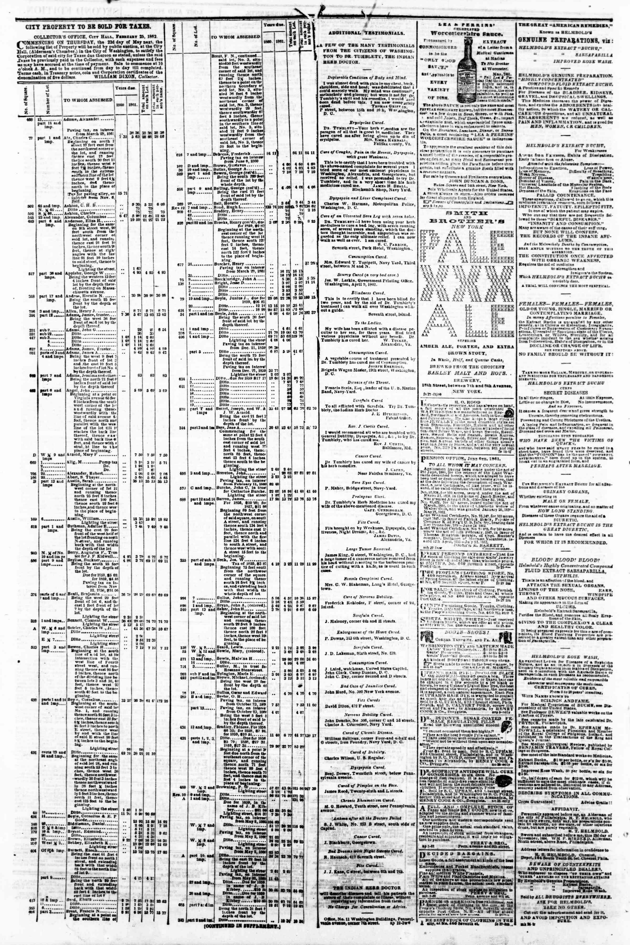 Newspaper of Evening Star dated April 15, 1862 Page 4