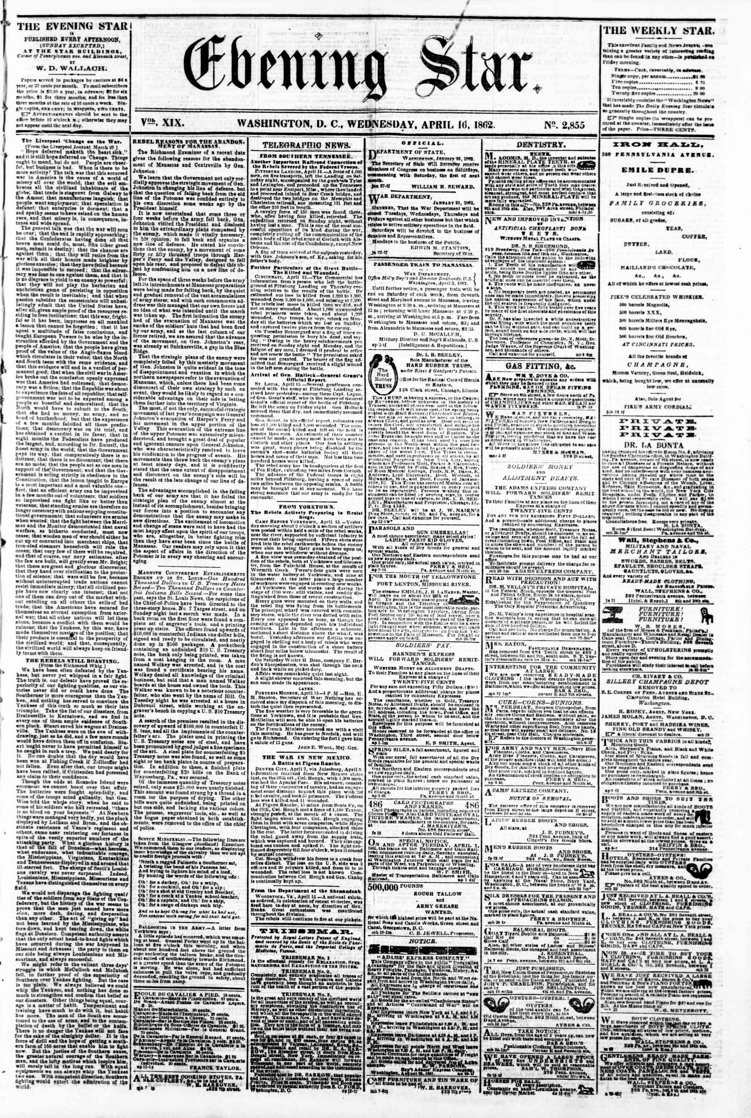 Newspaper of Evening Star dated April 16, 1862 Page 1
