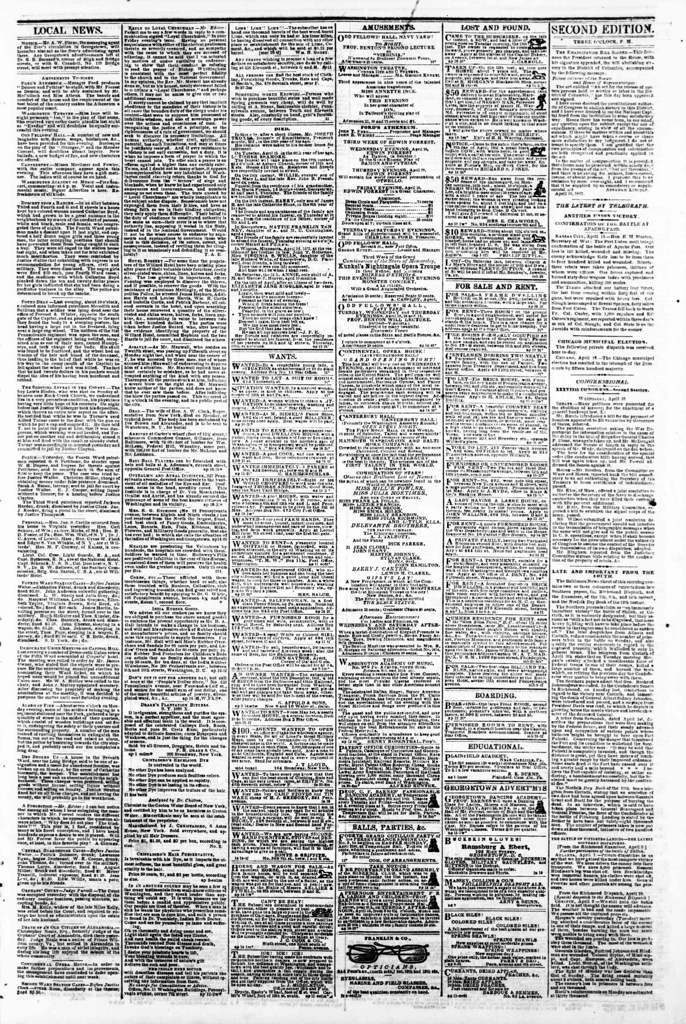 Newspaper of Evening Star dated April 16, 1862 Page 3
