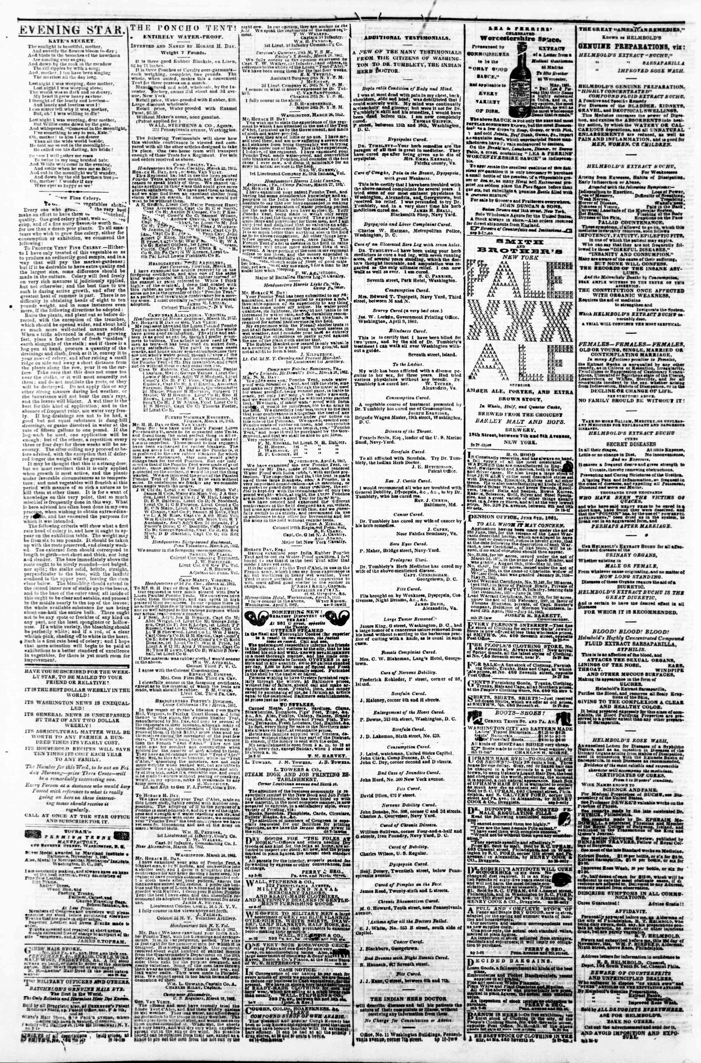 Newspaper of Evening Star dated April 16, 1862 Page 4