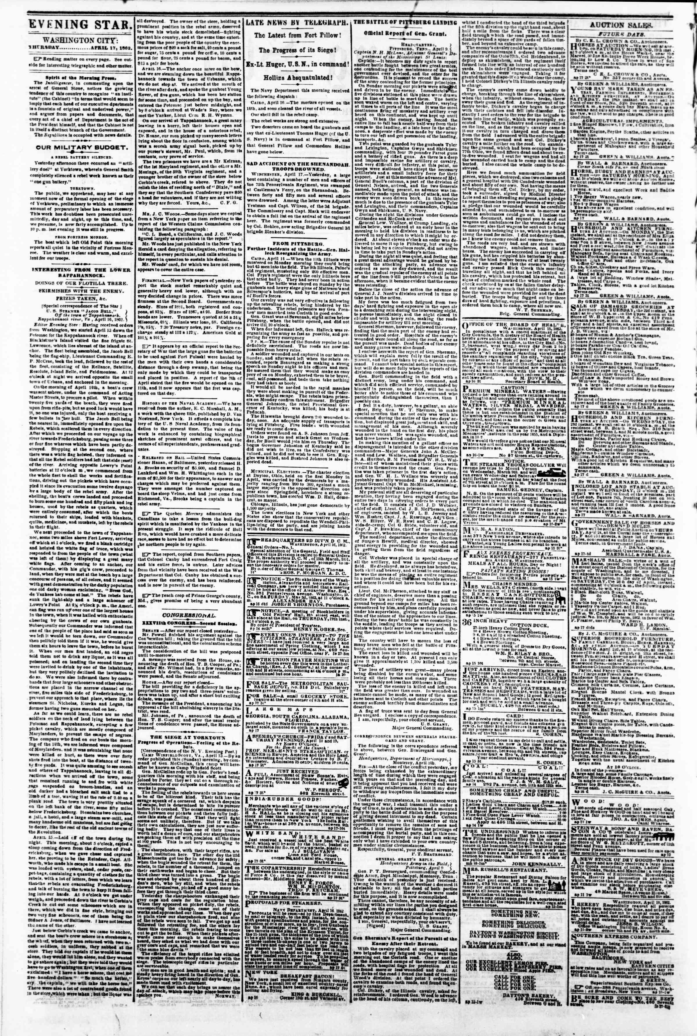 Newspaper of Evening Star dated April 17, 1862 Page 2