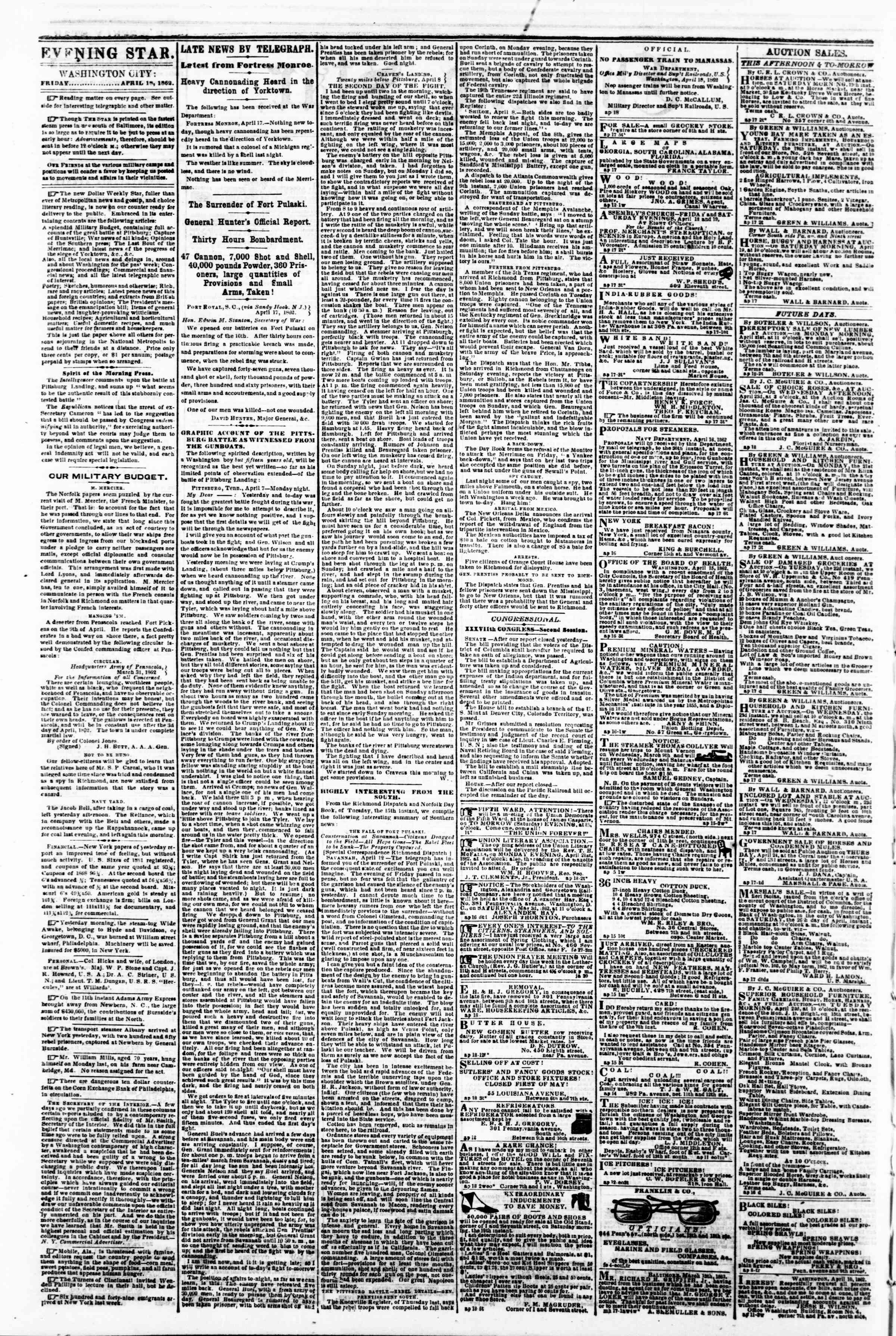 Newspaper of Evening Star dated April 18, 1862 Page 2