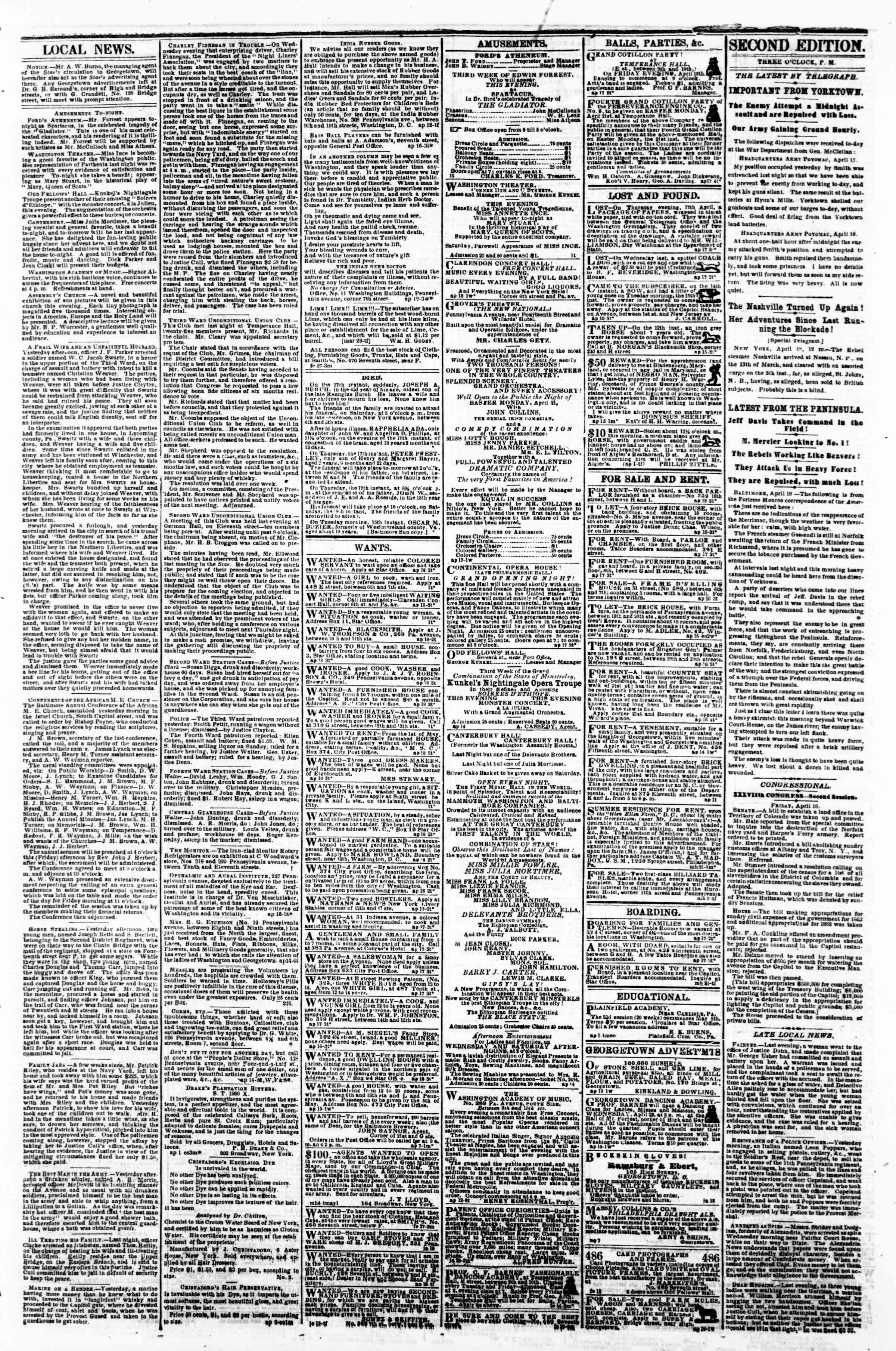 Newspaper of Evening Star dated April 18, 1862 Page 3