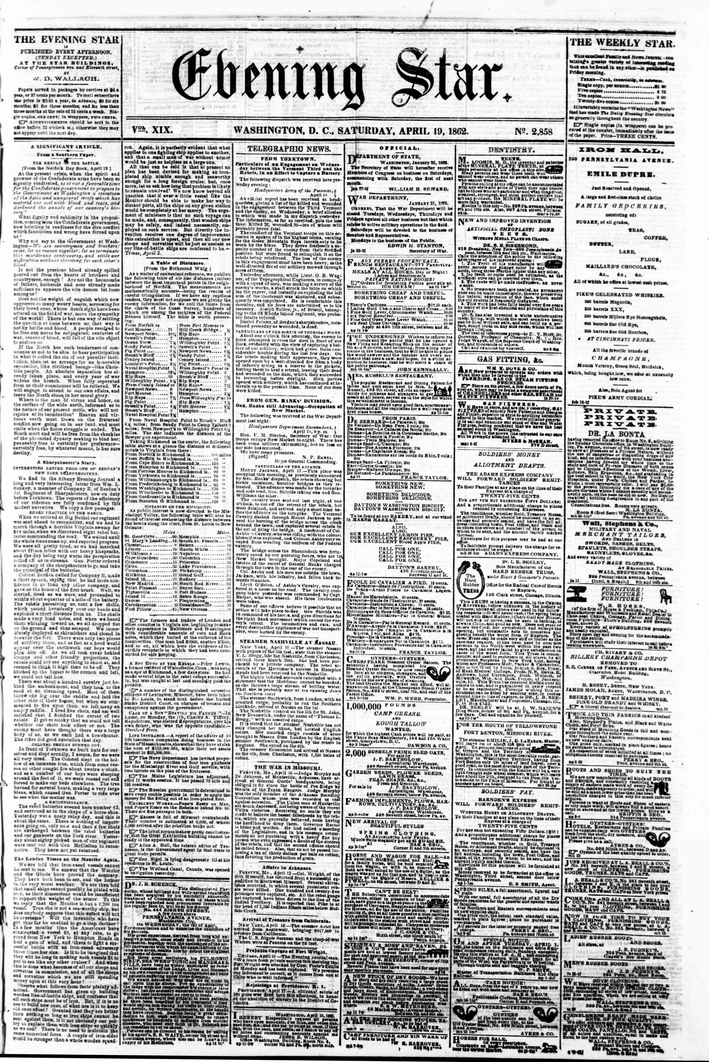 Newspaper of Evening Star dated April 19, 1862 Page 1
