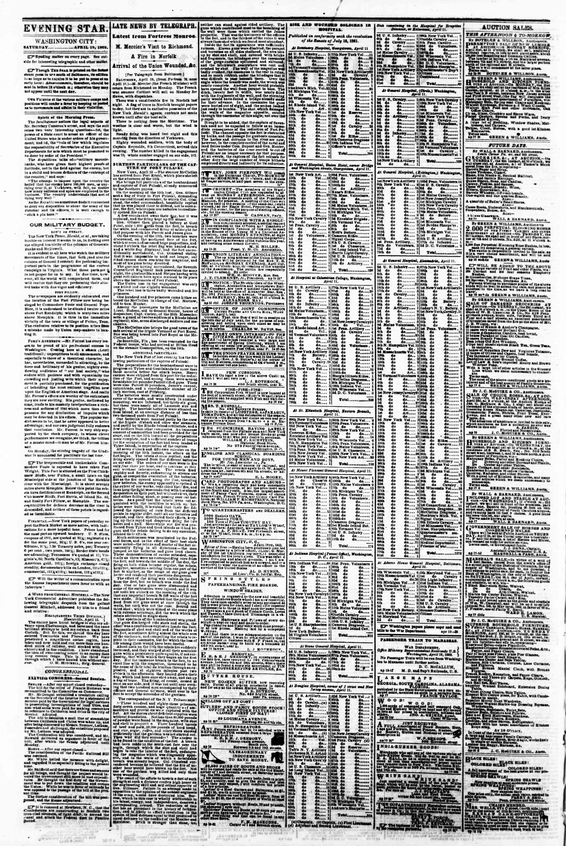 Newspaper of Evening Star dated April 19, 1862 Page 2