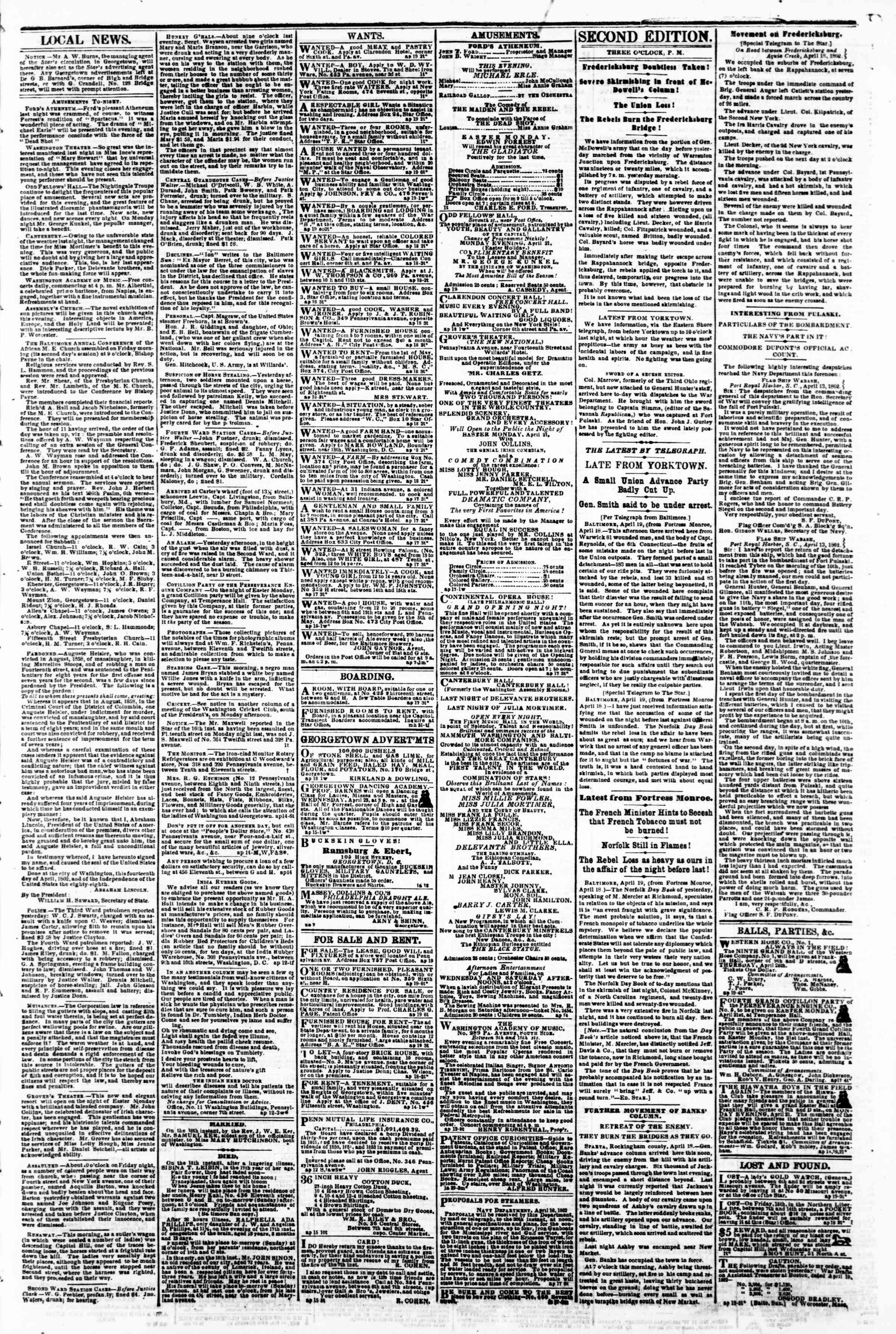 Newspaper of Evening Star dated April 19, 1862 Page 3