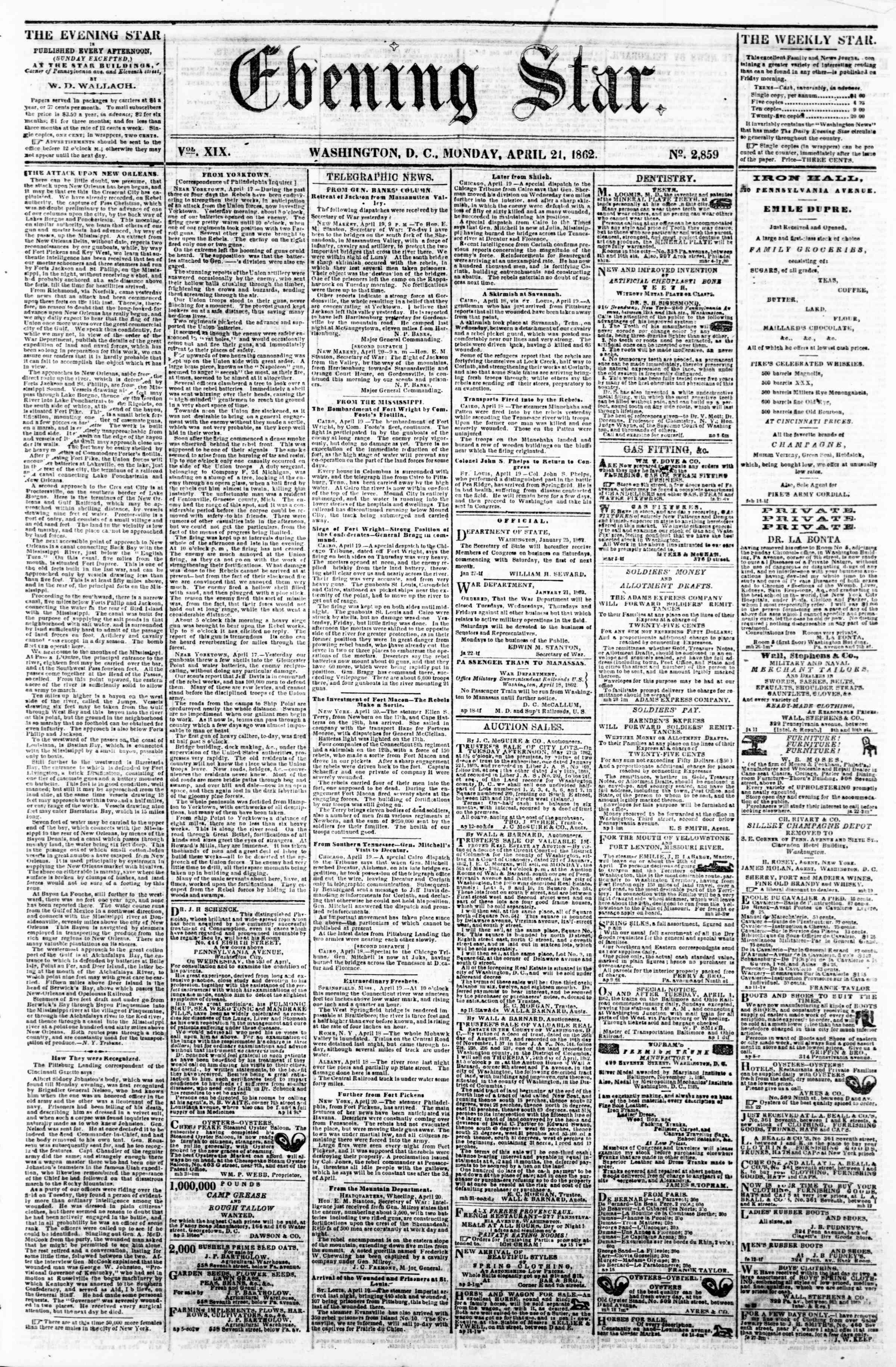 Newspaper of Evening Star dated April 21, 1862 Page 1