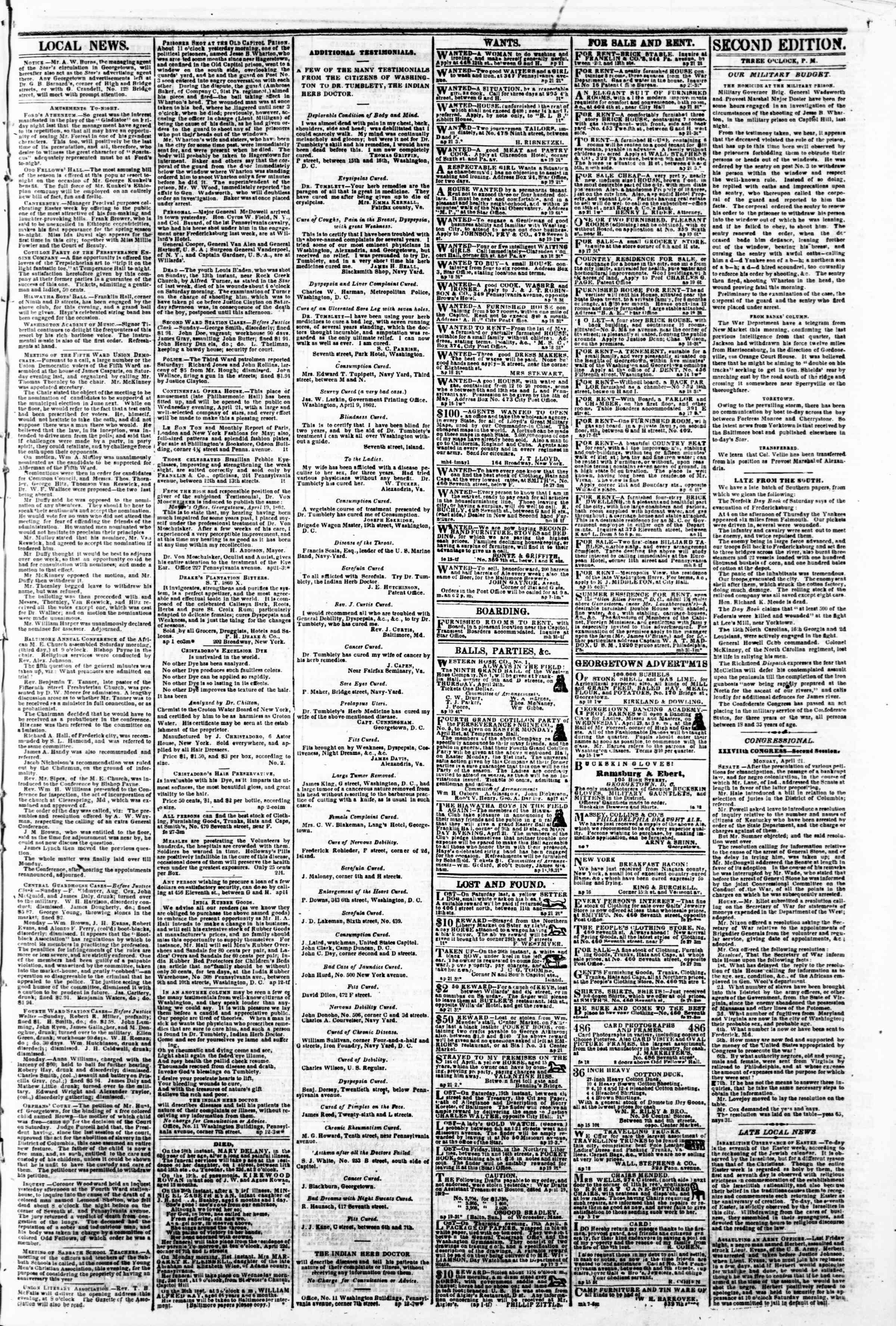 Newspaper of Evening Star dated April 21, 1862 Page 3