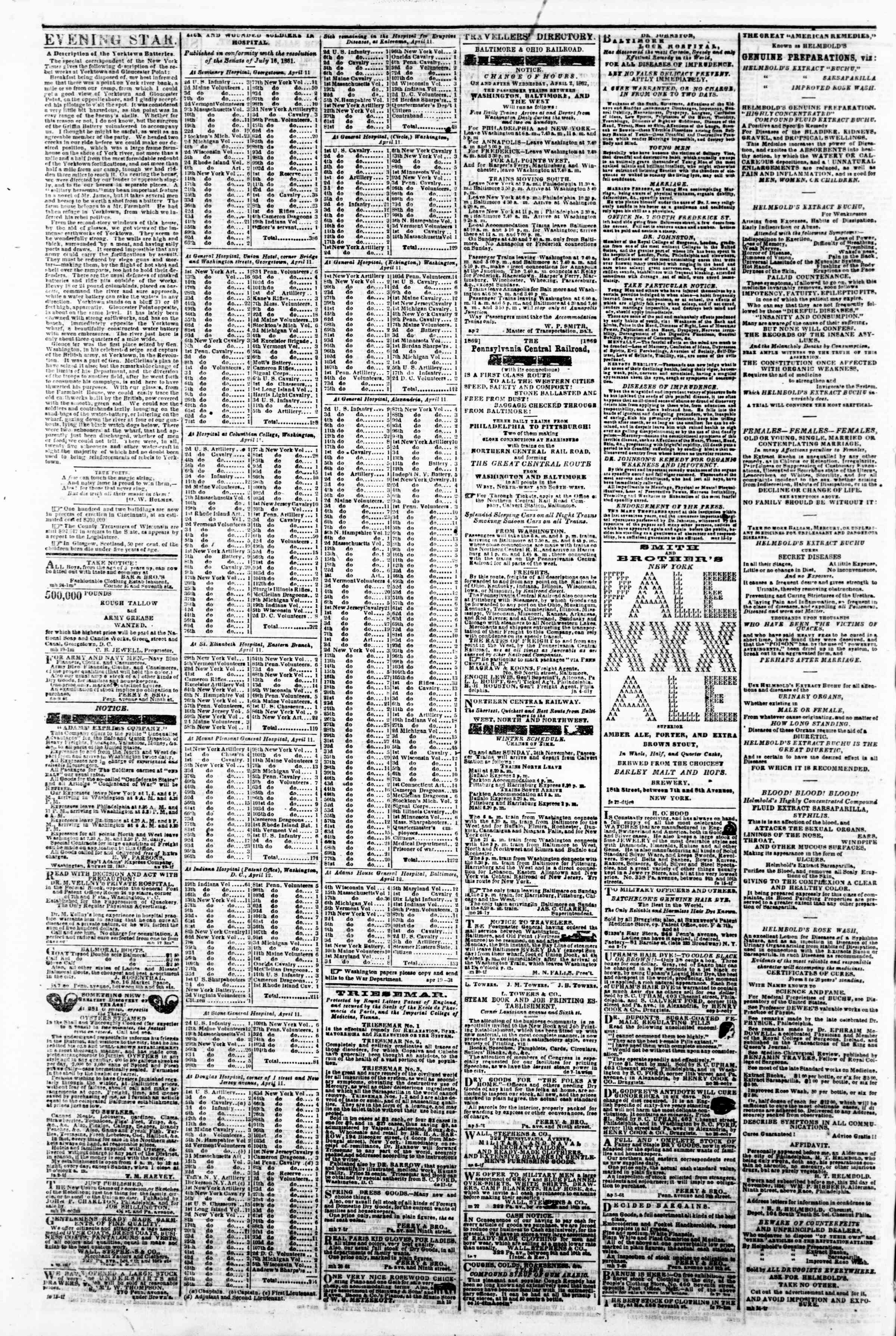 Newspaper of Evening Star dated April 21, 1862 Page 4