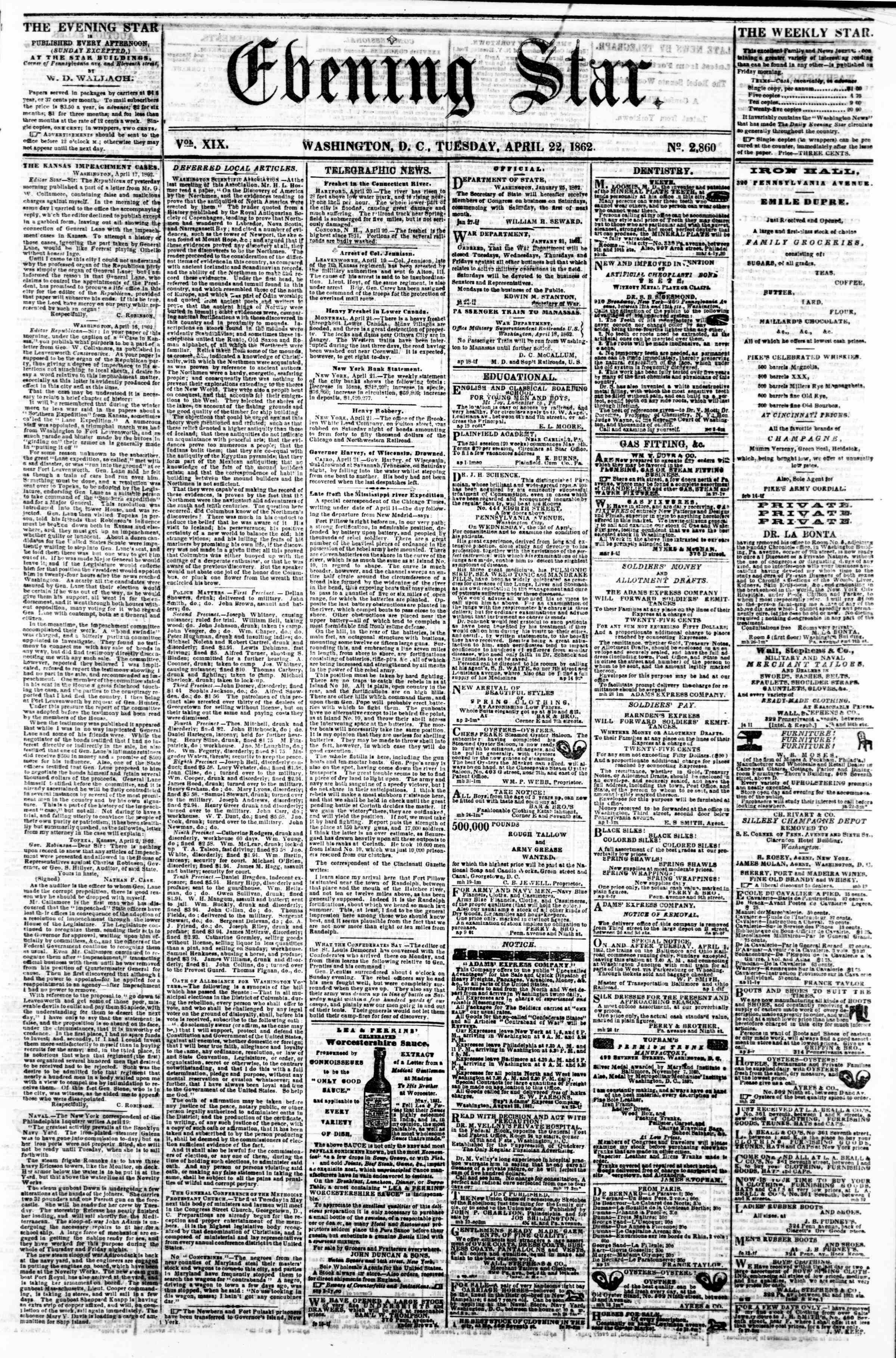 Newspaper of Evening Star dated April 22, 1862 Page 1