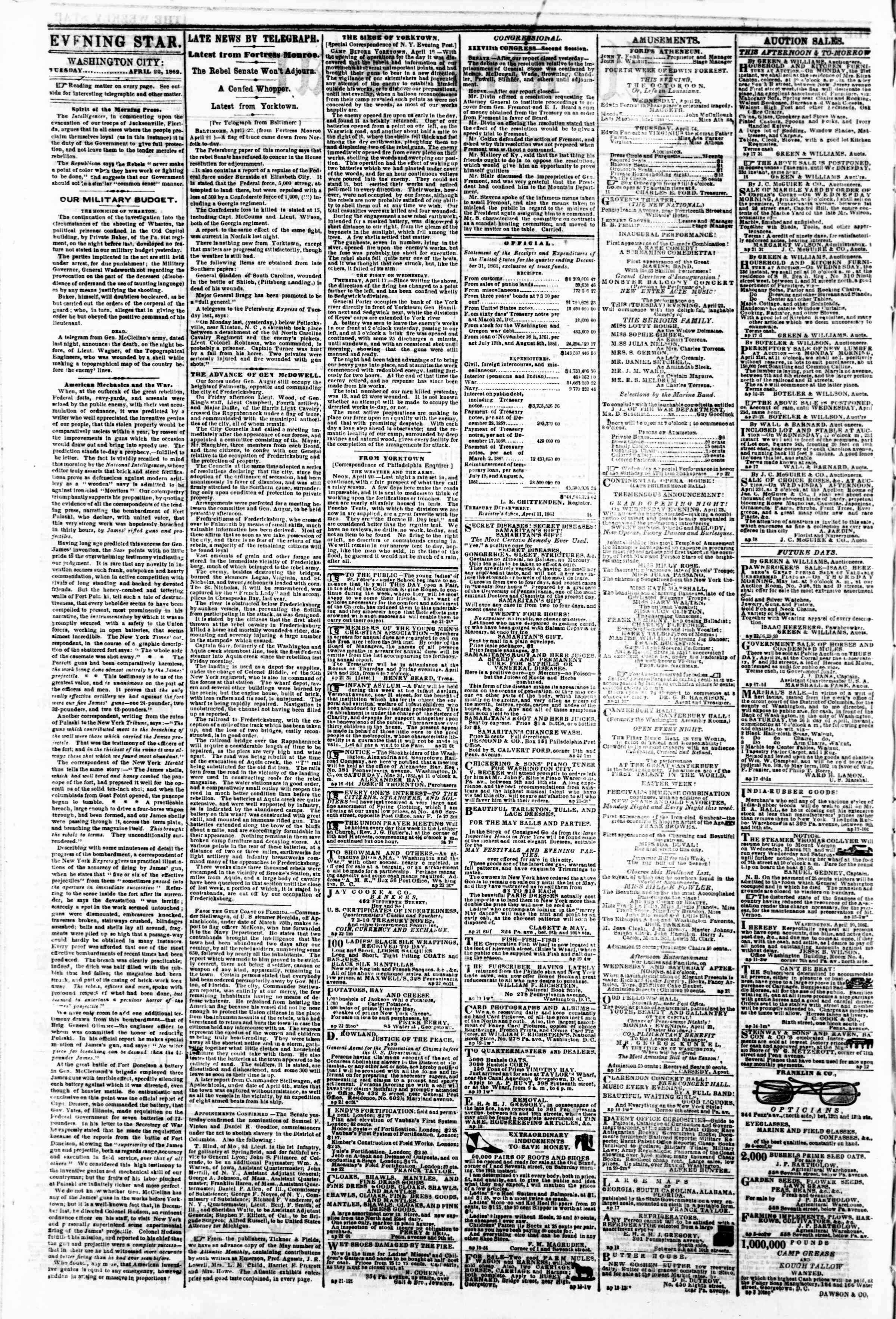 Newspaper of Evening Star dated April 22, 1862 Page 2