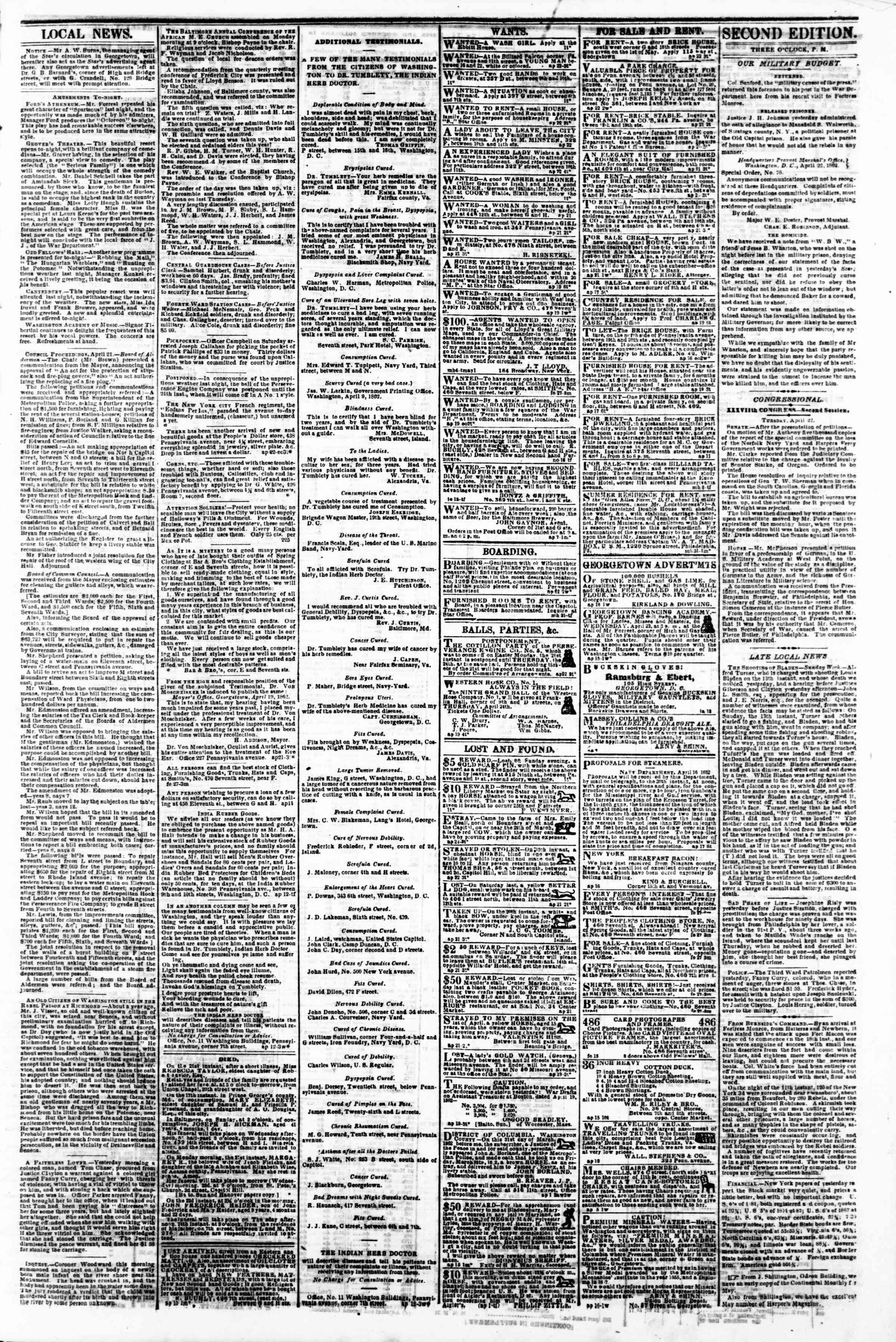 Newspaper of Evening Star dated 22 Nisan 1862 Page 3