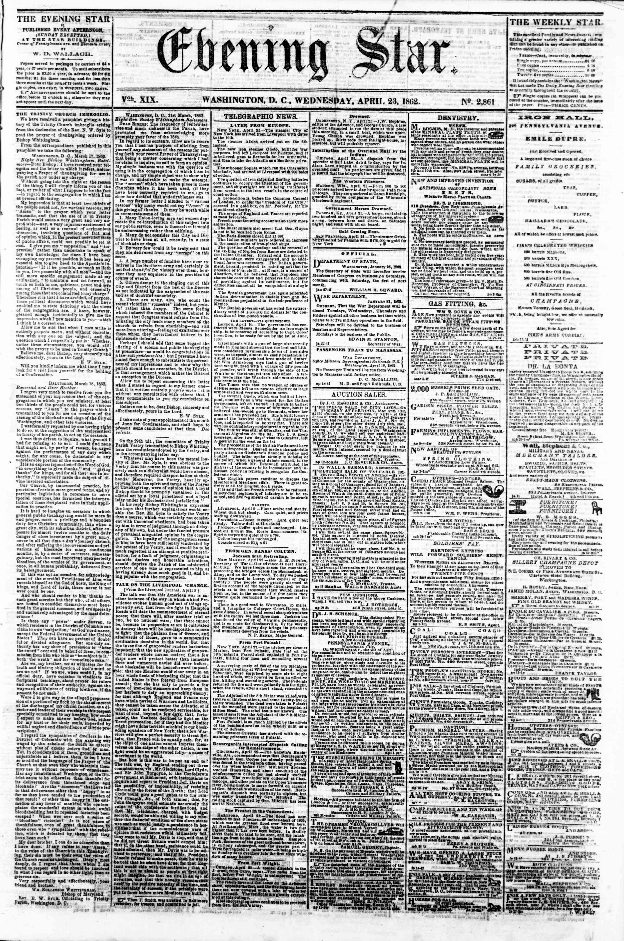 Newspaper of Evening Star dated April 23, 1862 Page 1