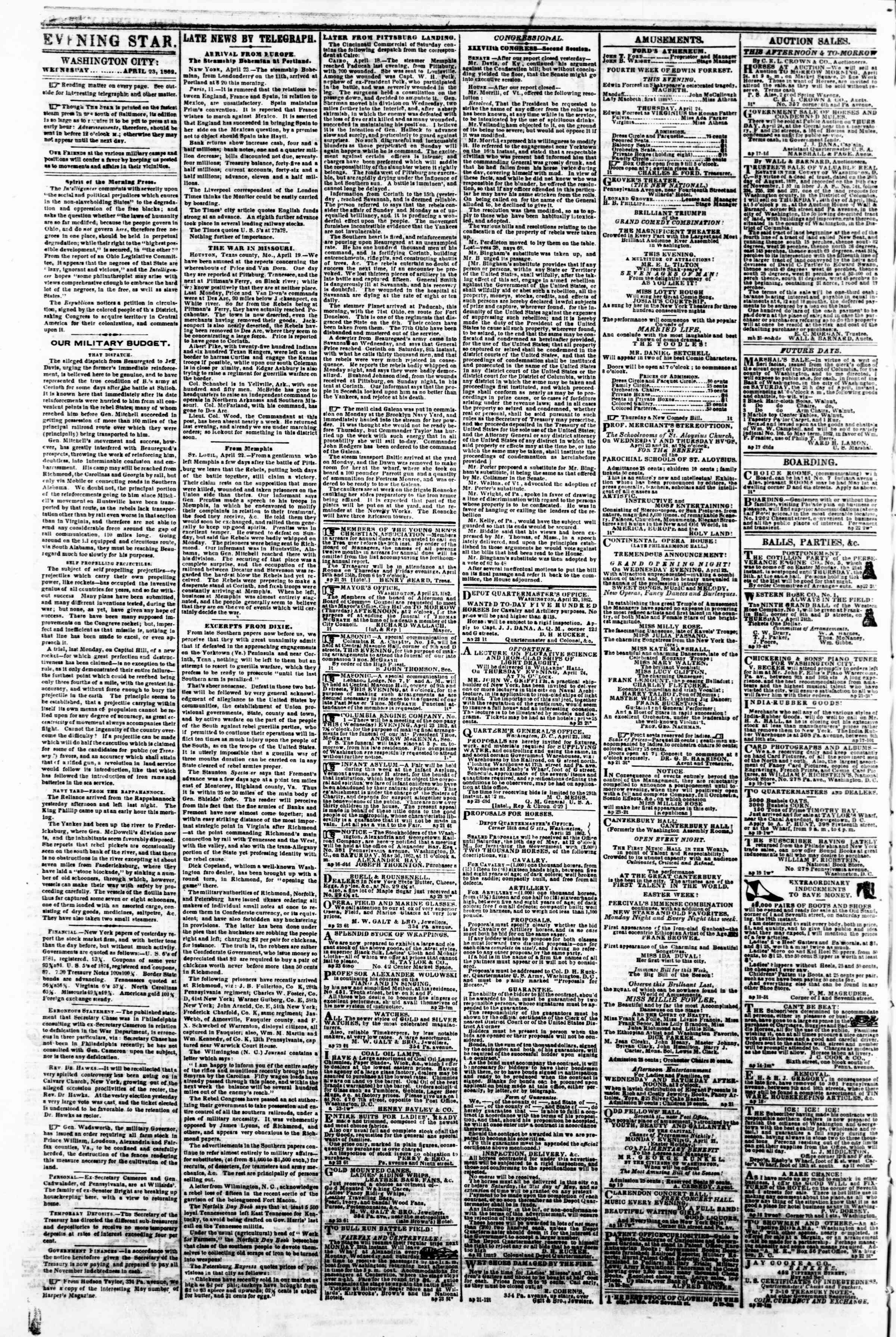 Newspaper of Evening Star dated April 23, 1862 Page 2
